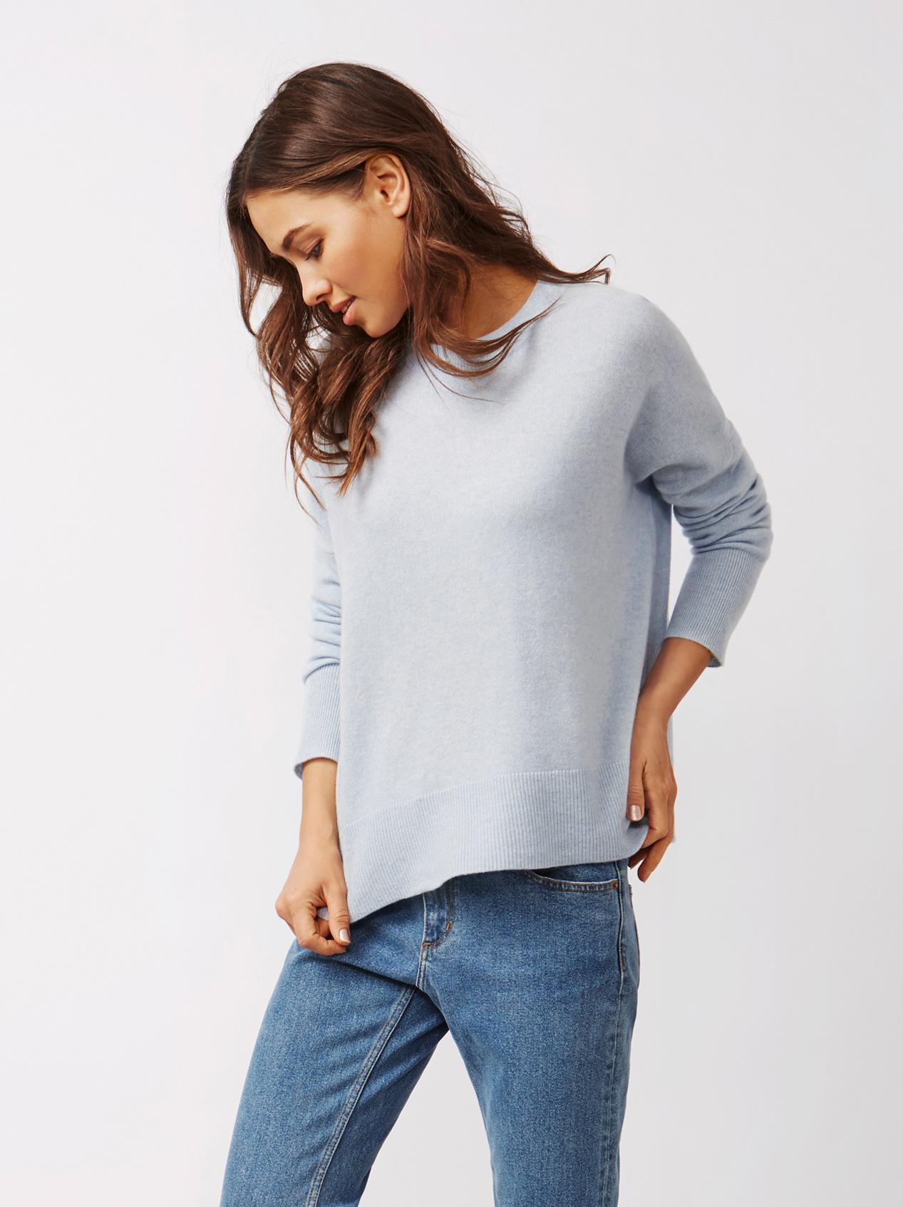 Soft Goat Women's Boyfriend Sweater Light Blue