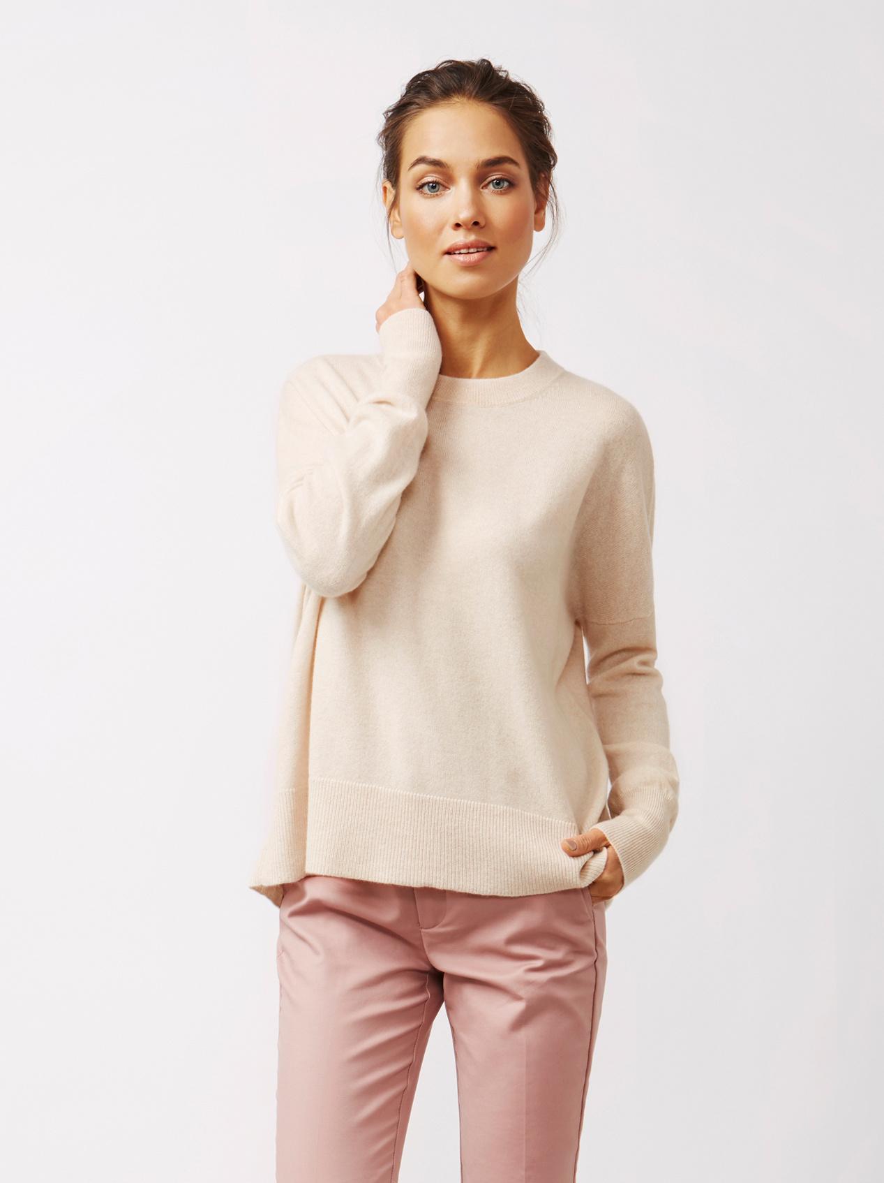 Soft Goat Women's Boyfriend Sweater Beige
