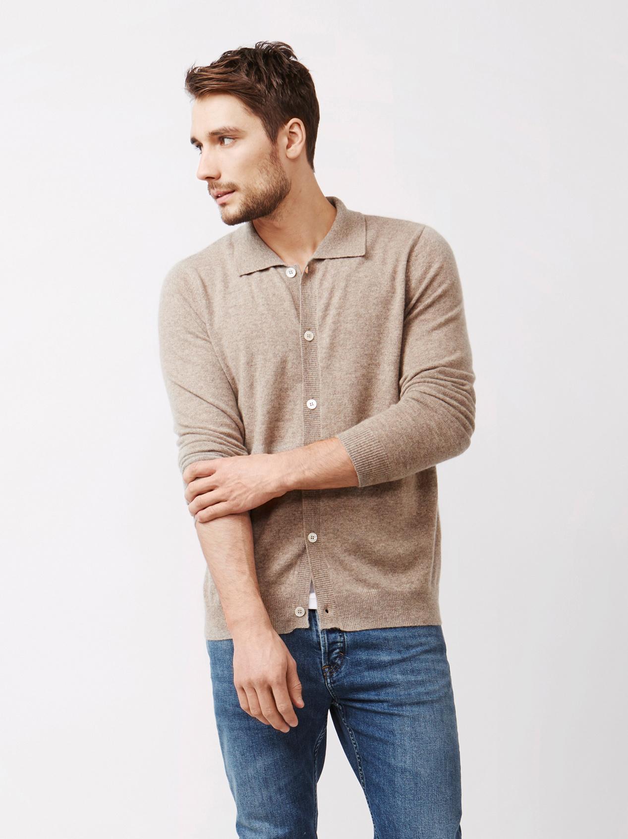 Soft Goat Men's Collar Cardigan Taupe