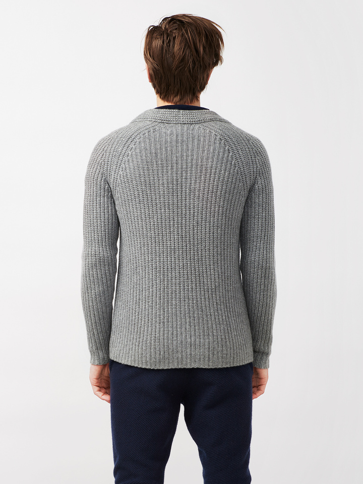 Soft Goat Men's Hiljemark Chunky Cardigan Dark Grey