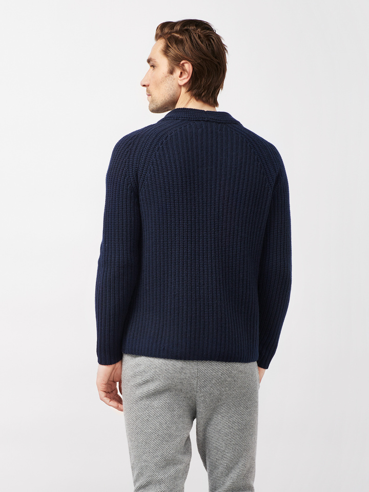 Soft Goat Men's Hiljemark Chunky Cardigan Navy