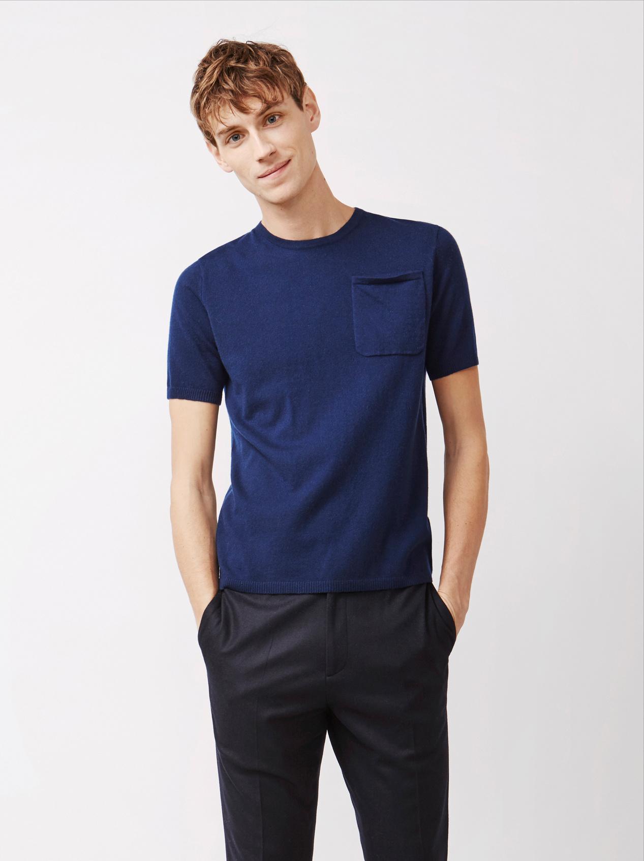 Soft Goat Men's T-Shirt With Pocket Navy