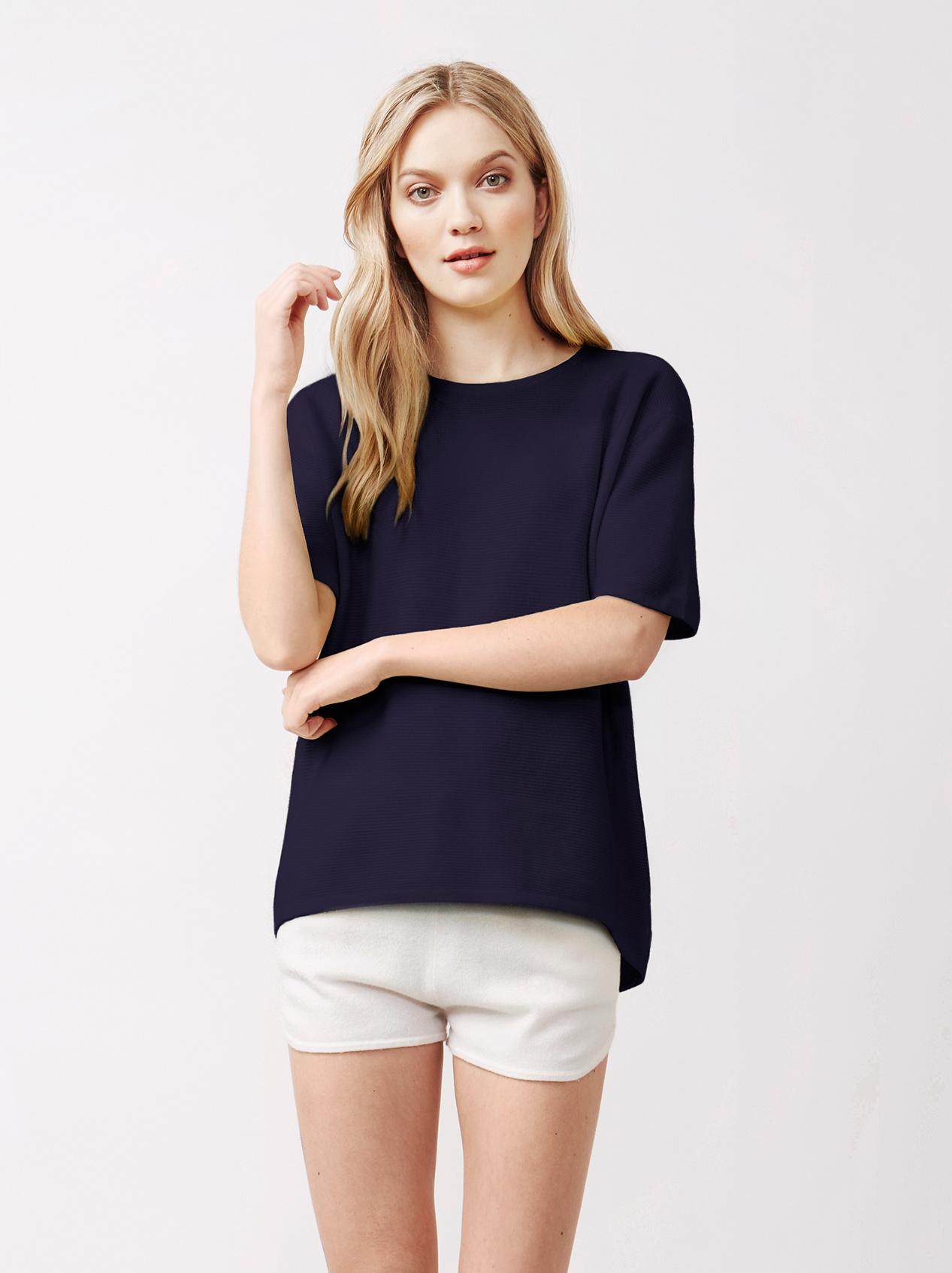Soft Goat Women's Curved T-Shirt Navy