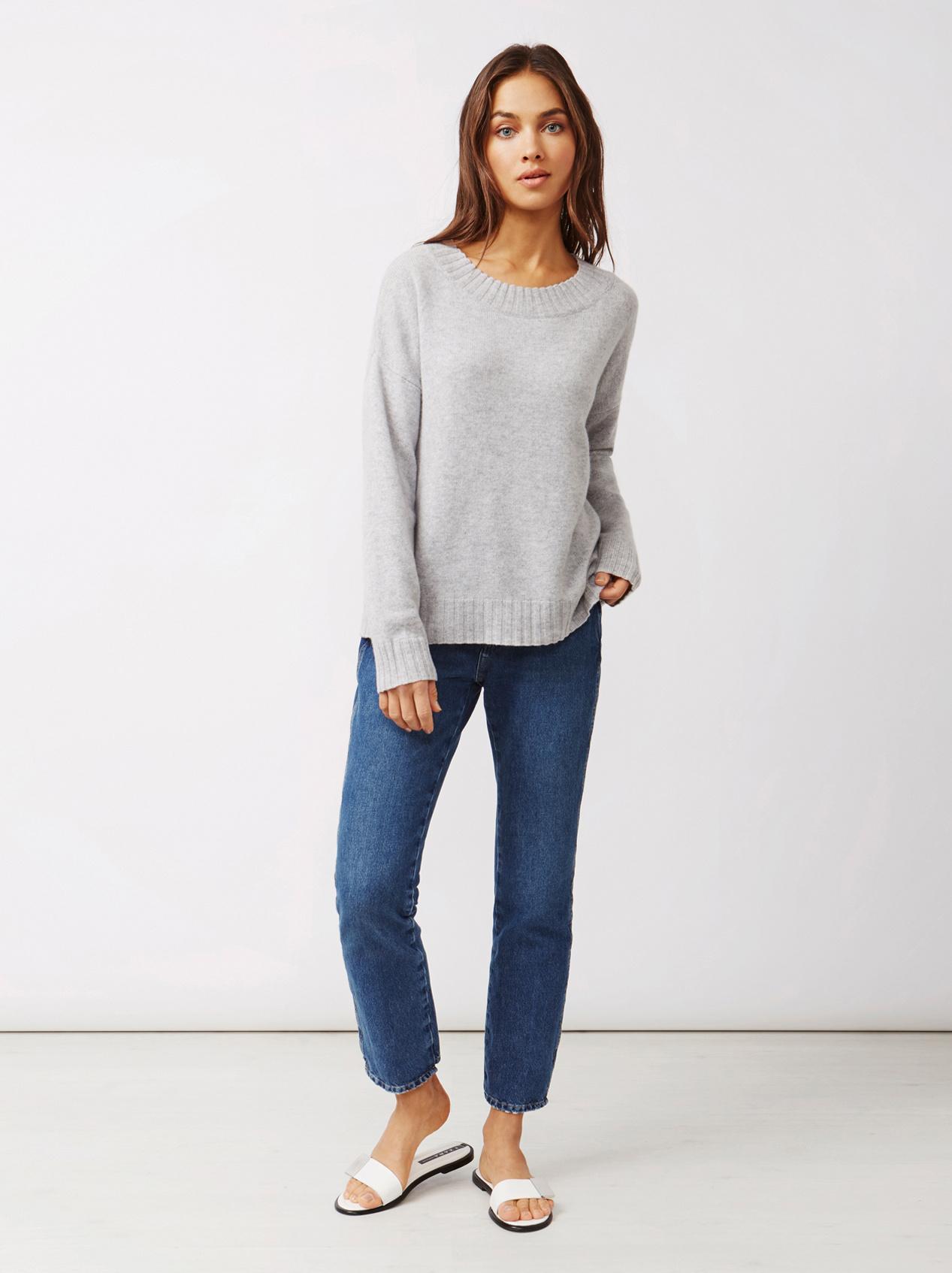 Soft Goat Women's Relaxed Sweater Light Grey