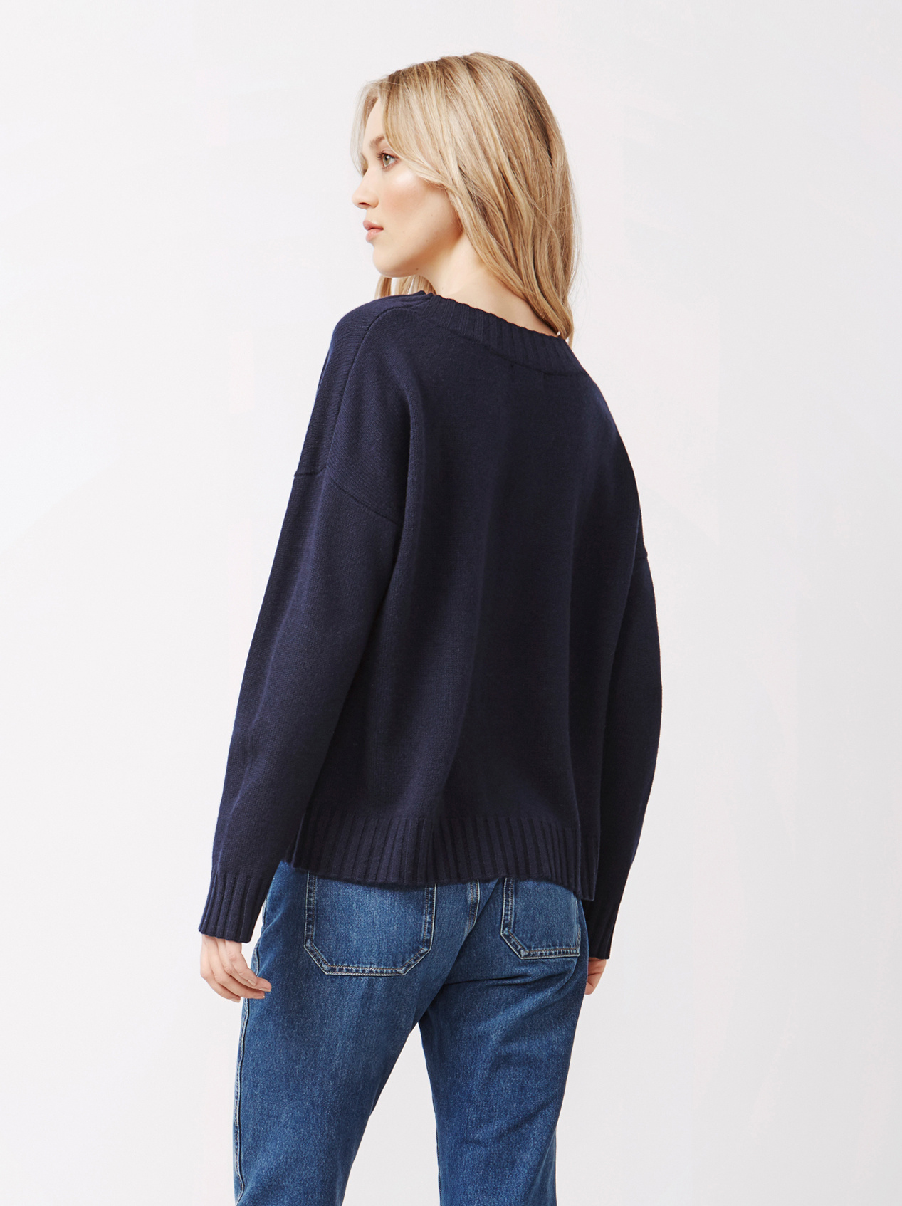 Soft Goat Women's Relaxed Sweater Navy