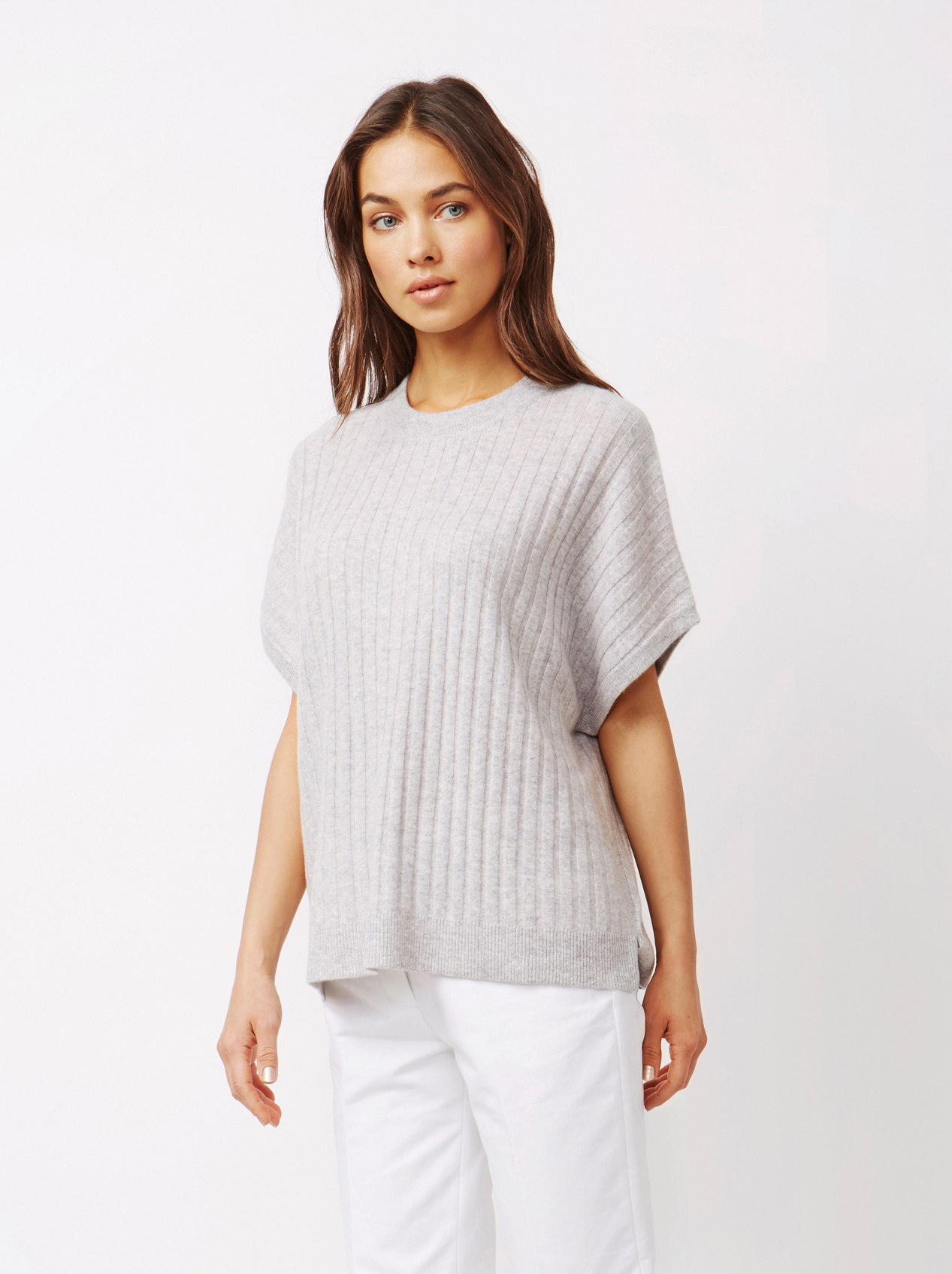 Soft Goat Women's Ribbed Poncho Light Grey