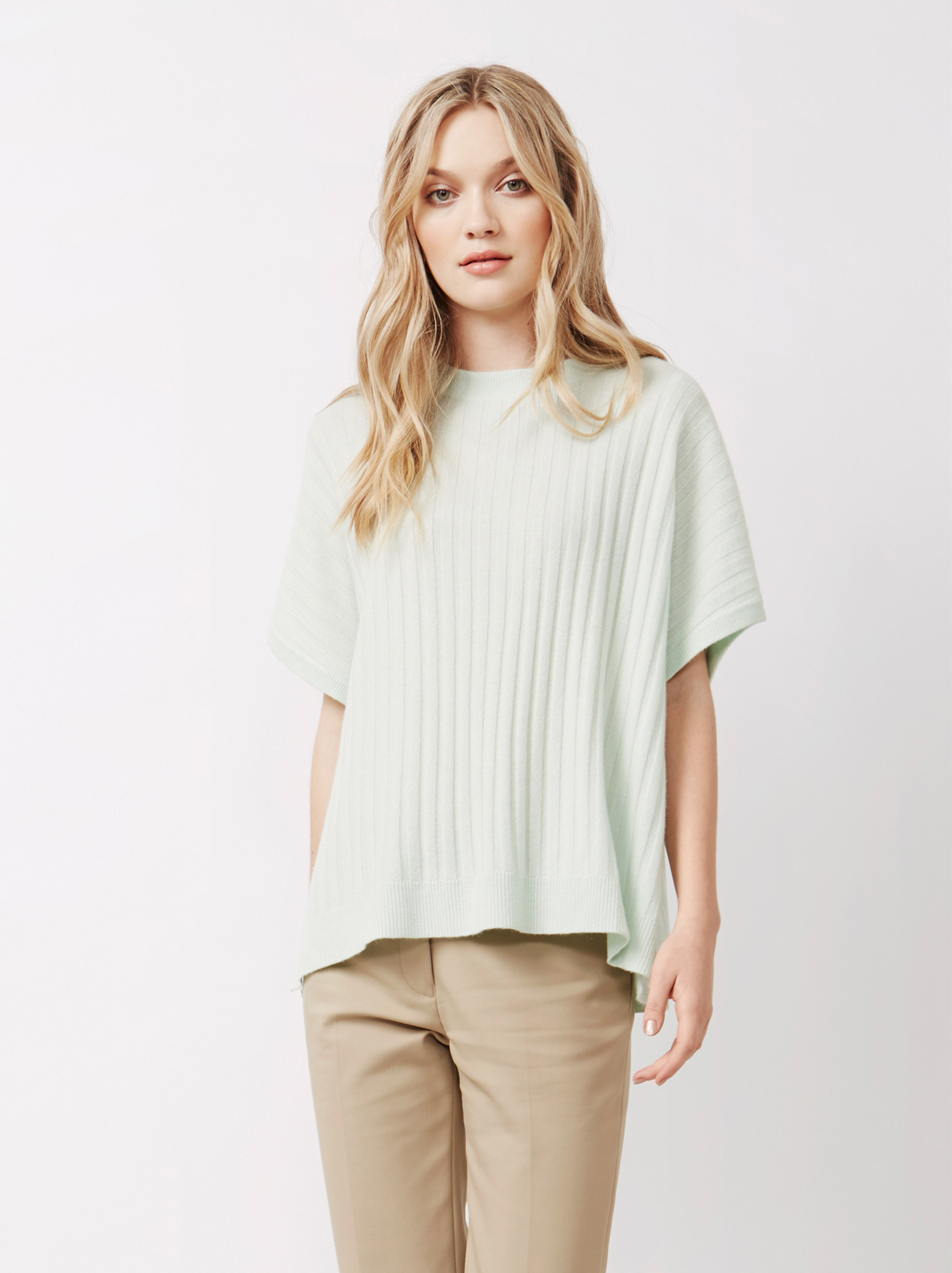 Soft Goat Women's Ribbed Poncho Sorbet Mint