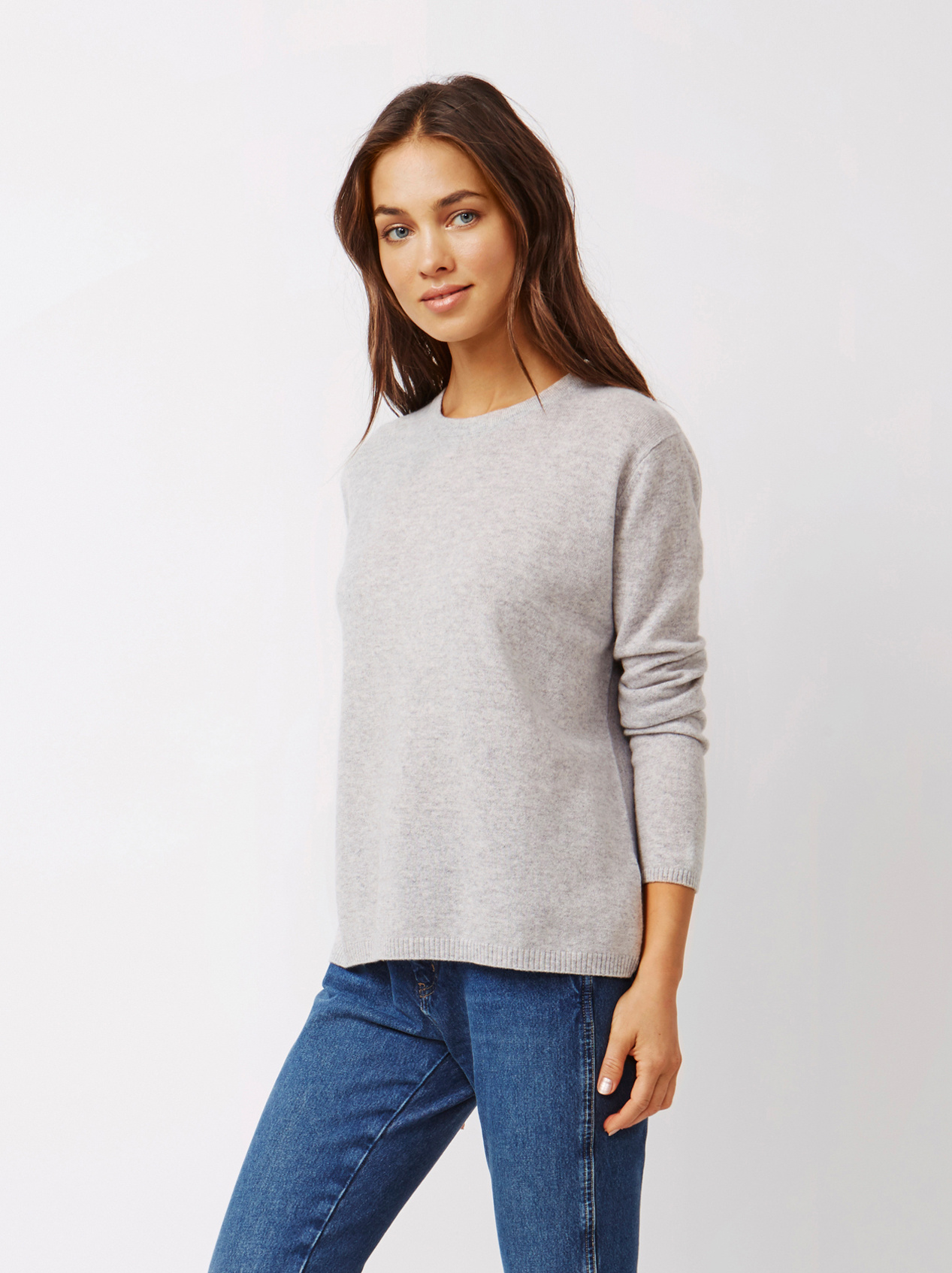 Soft Goat Women's Crossed Back Sweater Light Grey