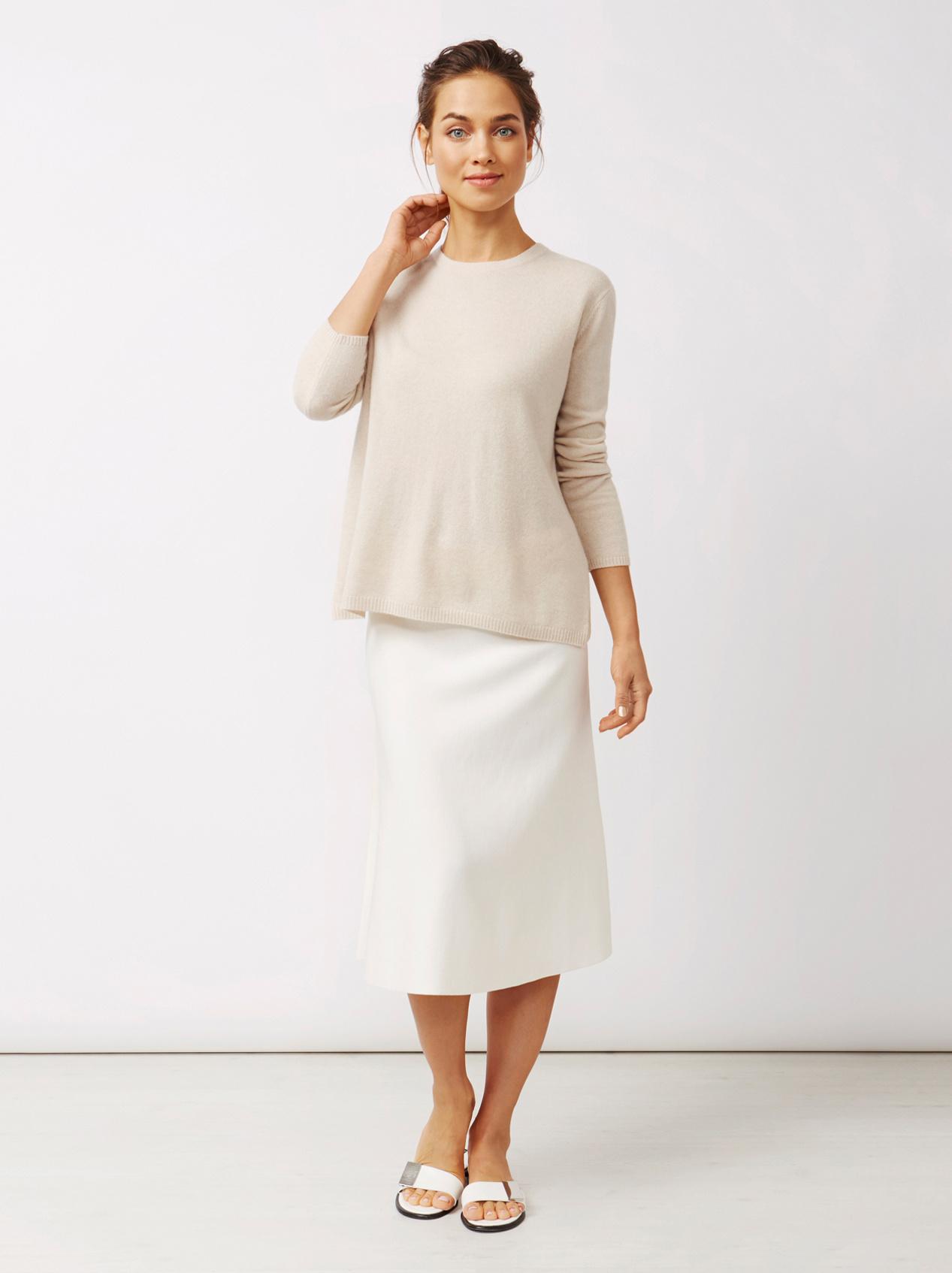 Soft Goat Women's Crossed Back Sweater Beige