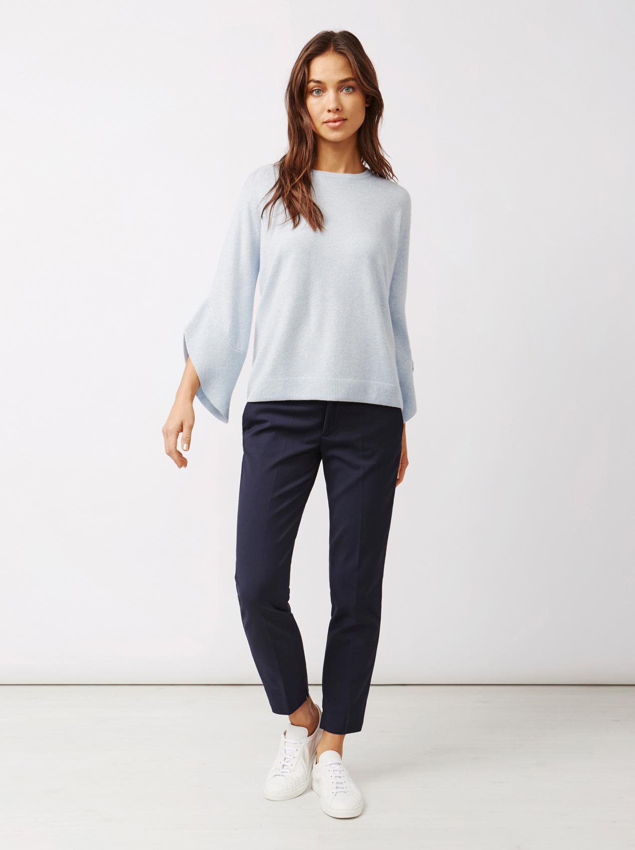 Soft Goat Women's Tulip Arm Sweater Light Blue