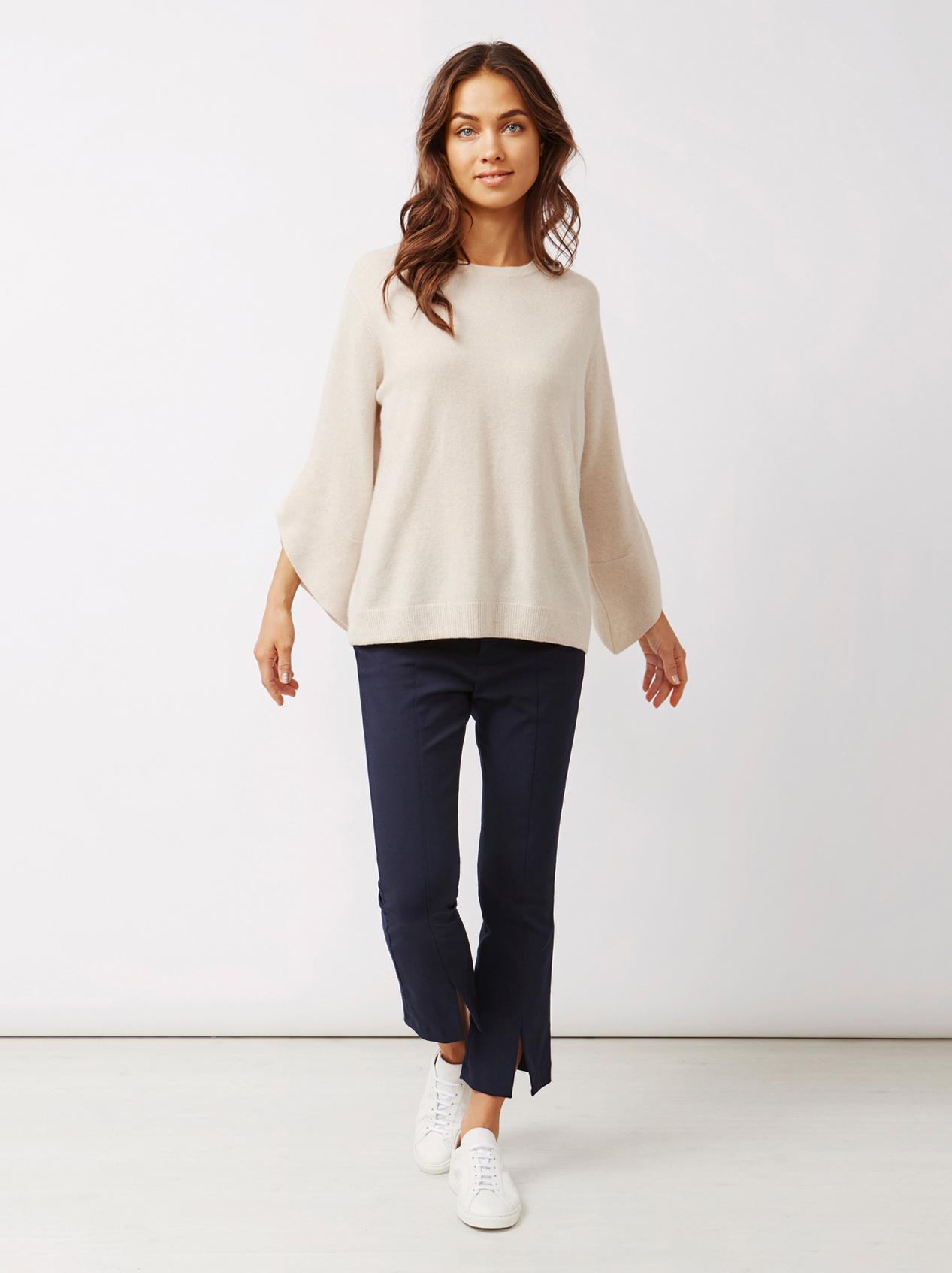 Soft Goat Women's Tulip Arm Sweater Beige