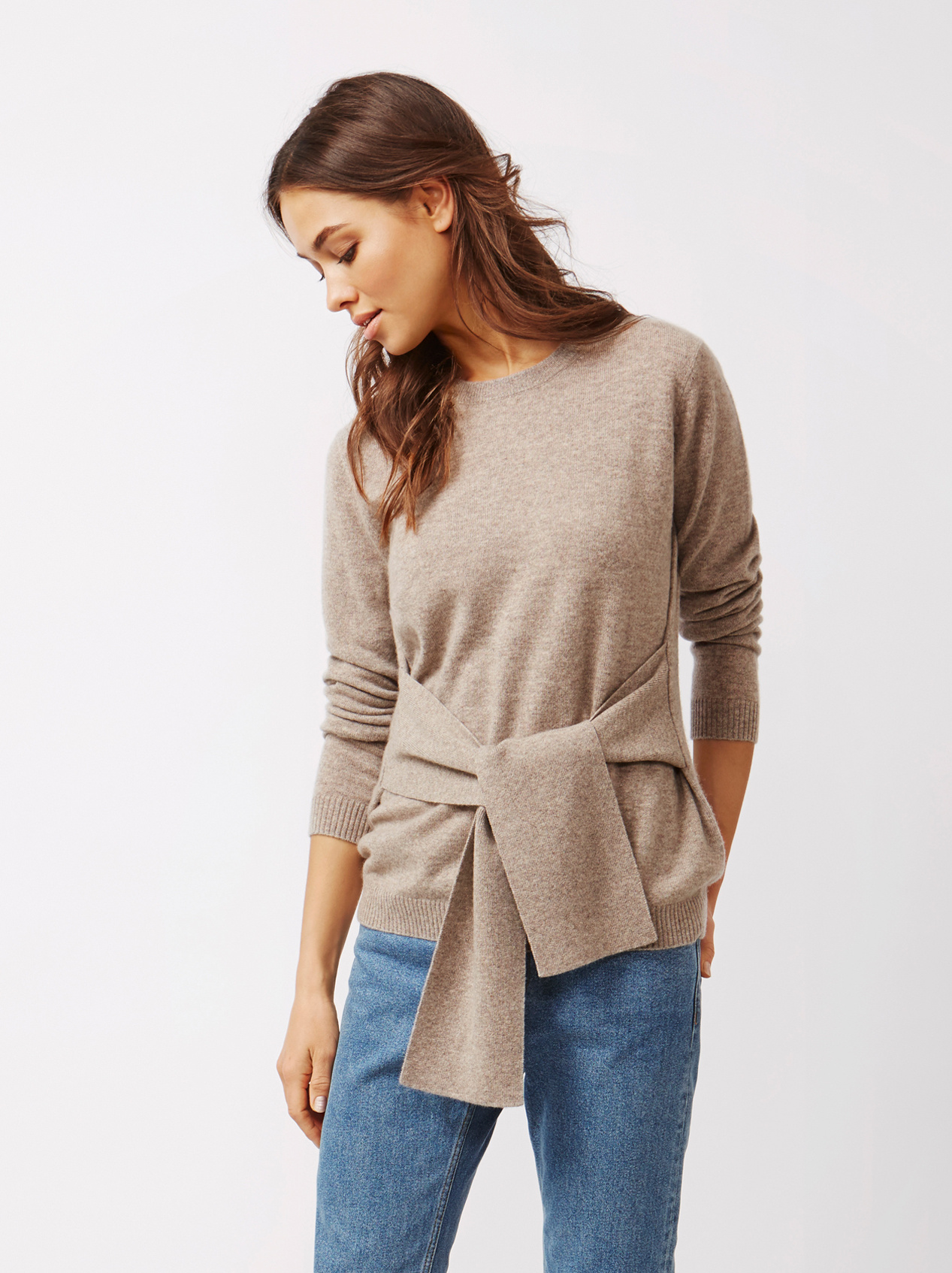 Soft Goat Women's Knot Sweater Taupe