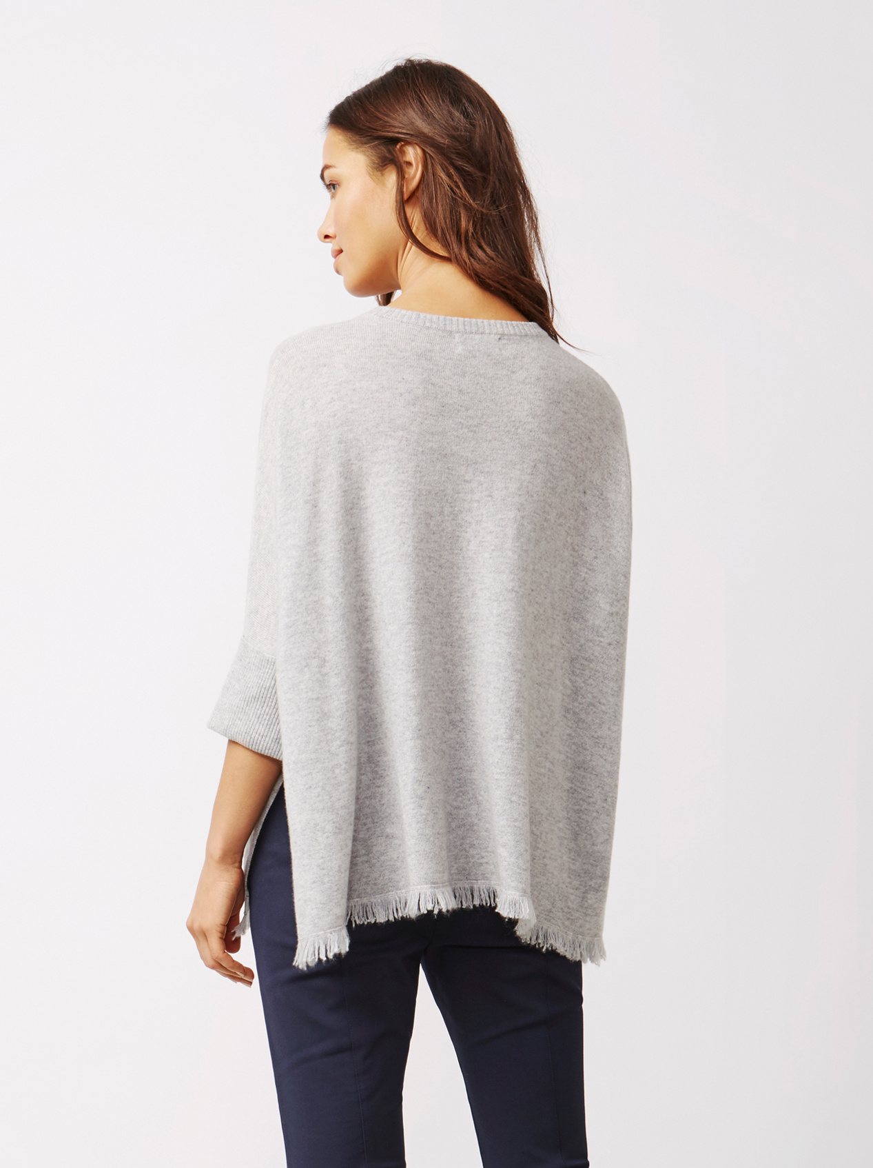Soft Goat Women's Fringe Poncho Light Grey