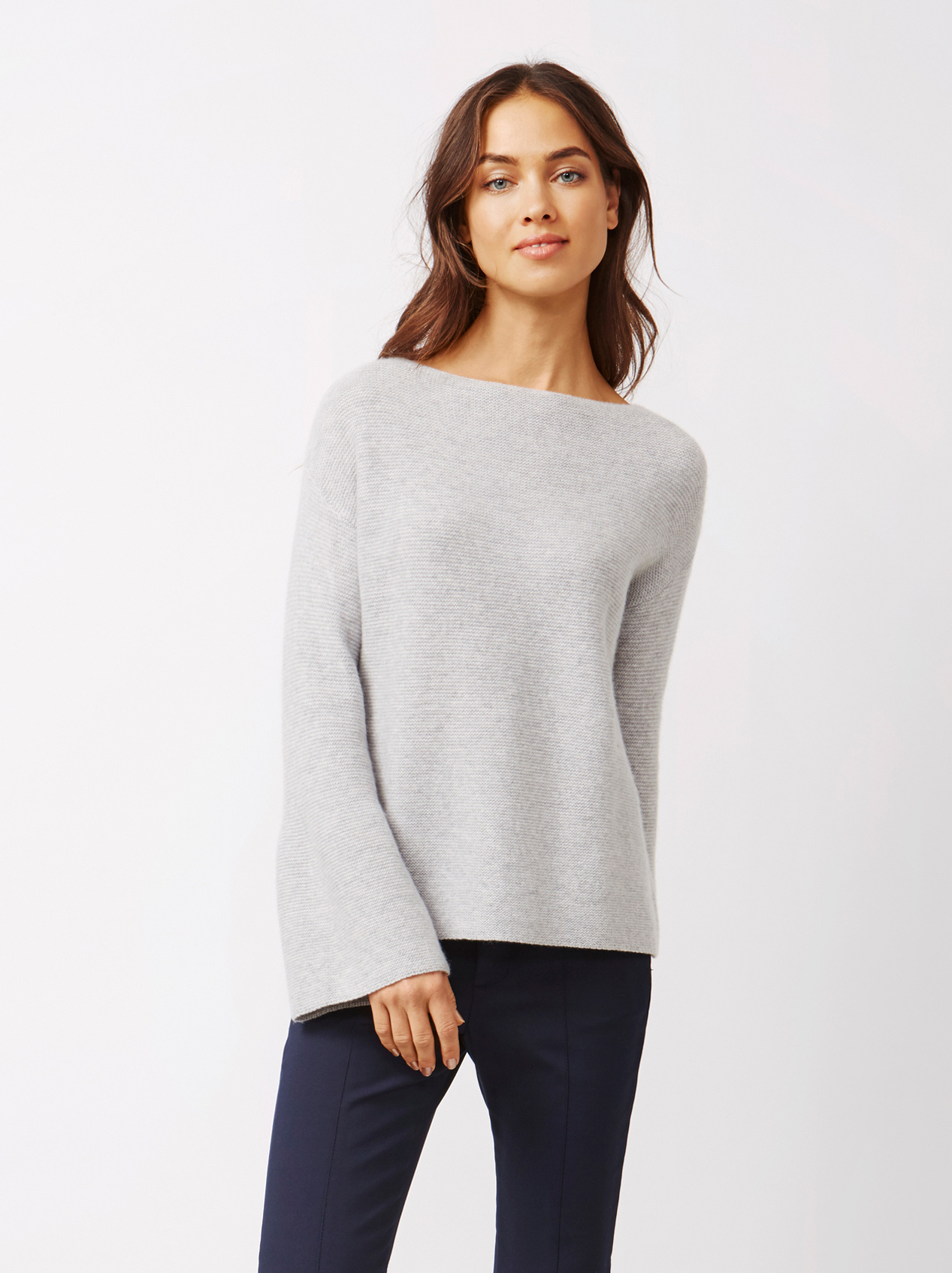 Soft Goat Women's Chunky Boatneck Light Grey