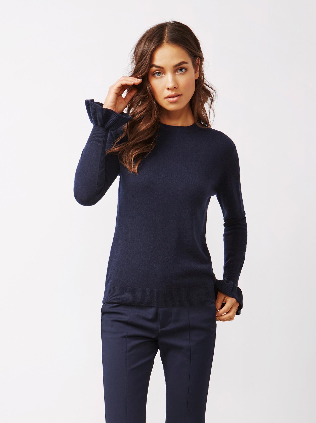 Soft Goat Women's Frill Sweater Navy