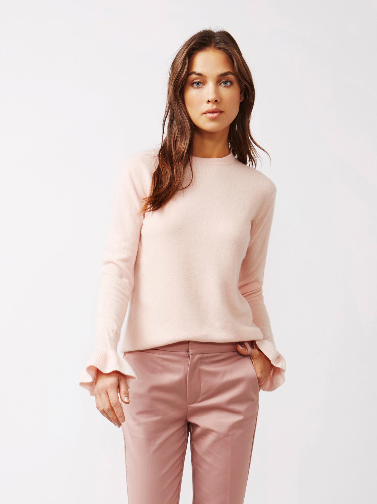 Soft Goat Women's Frill Sweater Powder