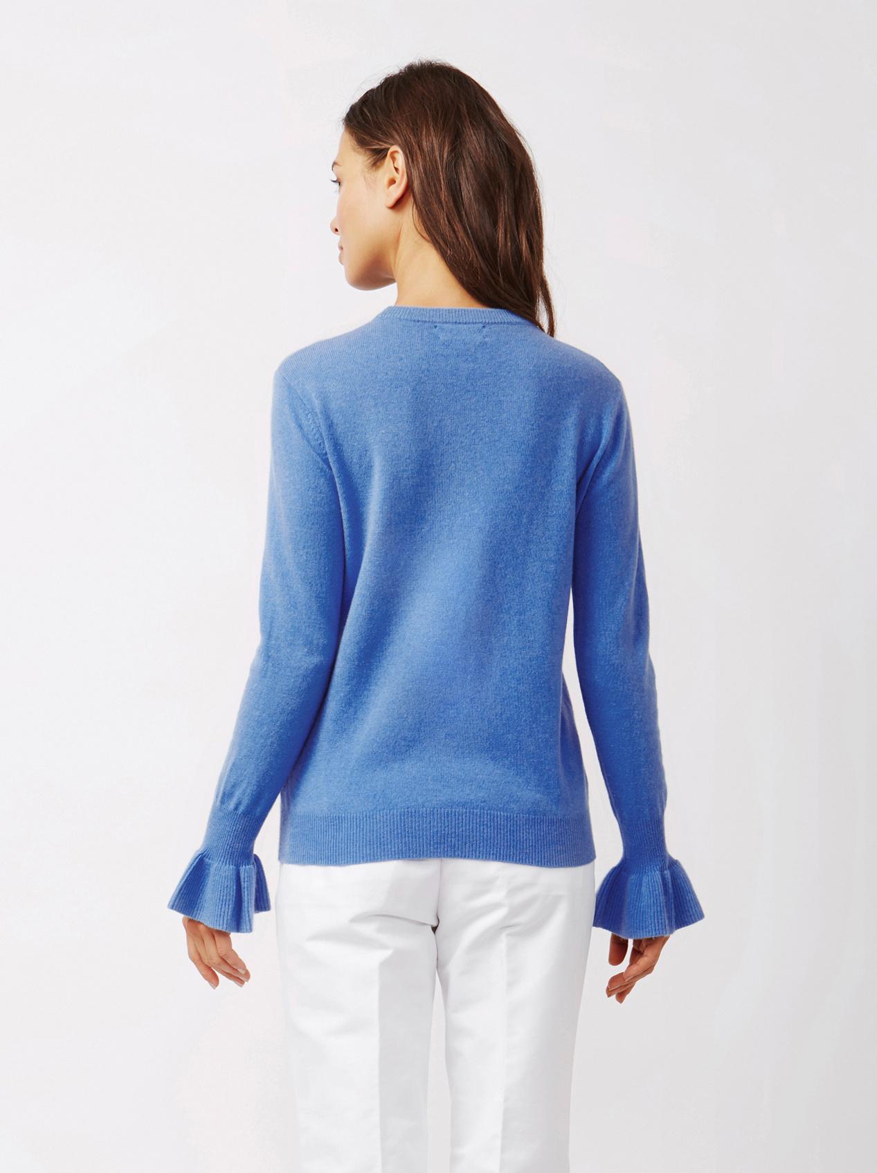 Soft Goat Women's Frill Sweater Sky Blue