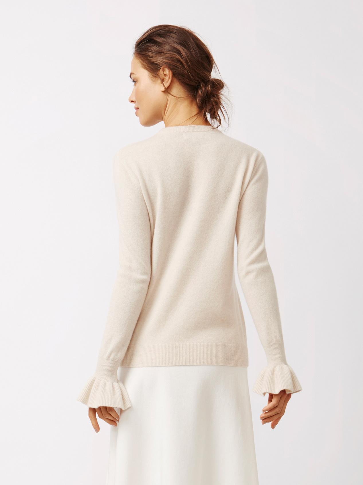Soft Goat Women's Frill Sweater Beige