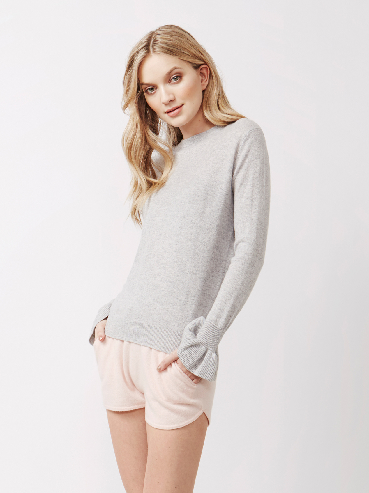 Soft Goat Women's Frill Sweater Light Grey