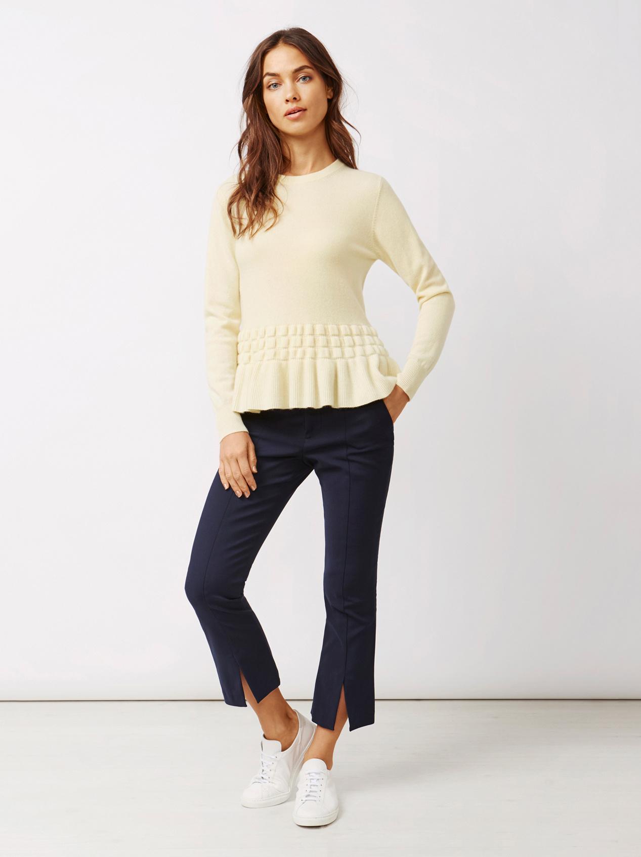 Soft Goat Women's Bottom Ruffle Sweater Limoncello