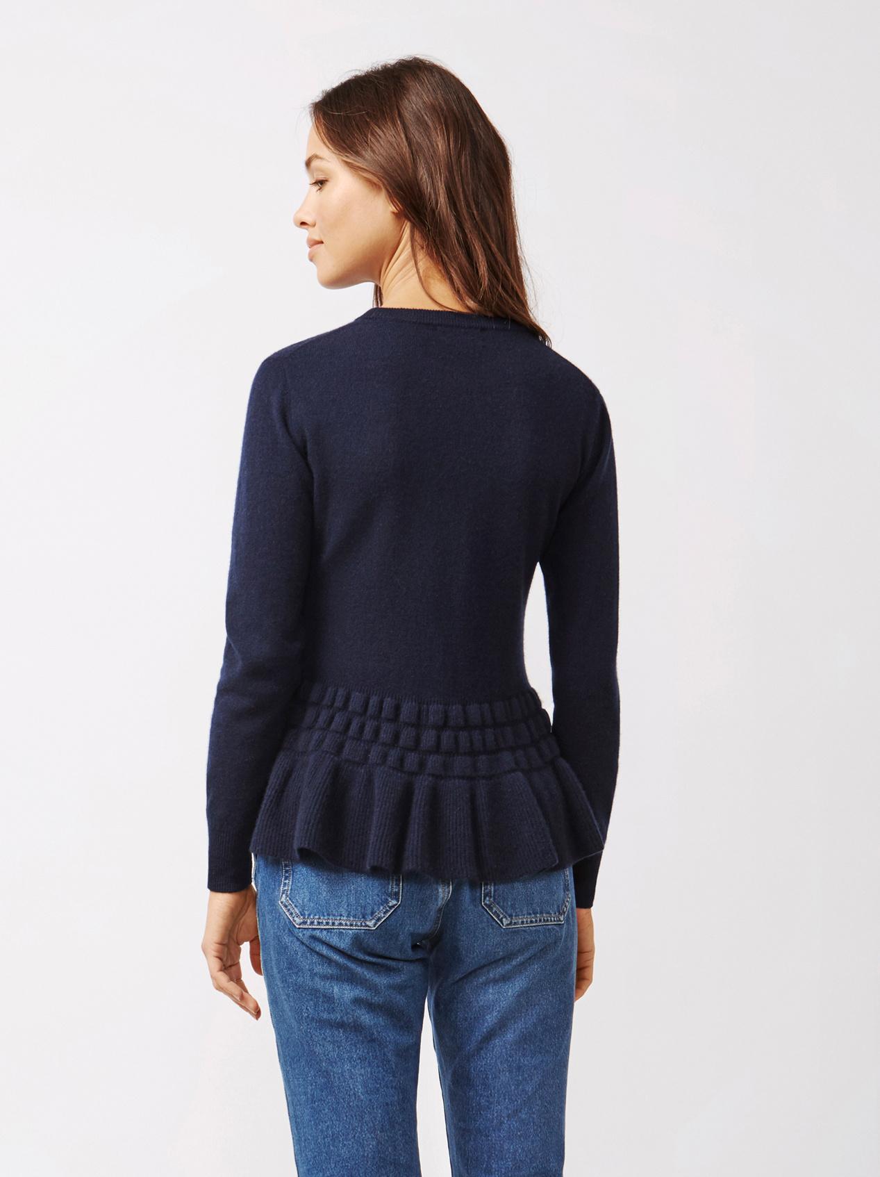 Soft Goat Women's Bottom Ruffle Sweater Navy