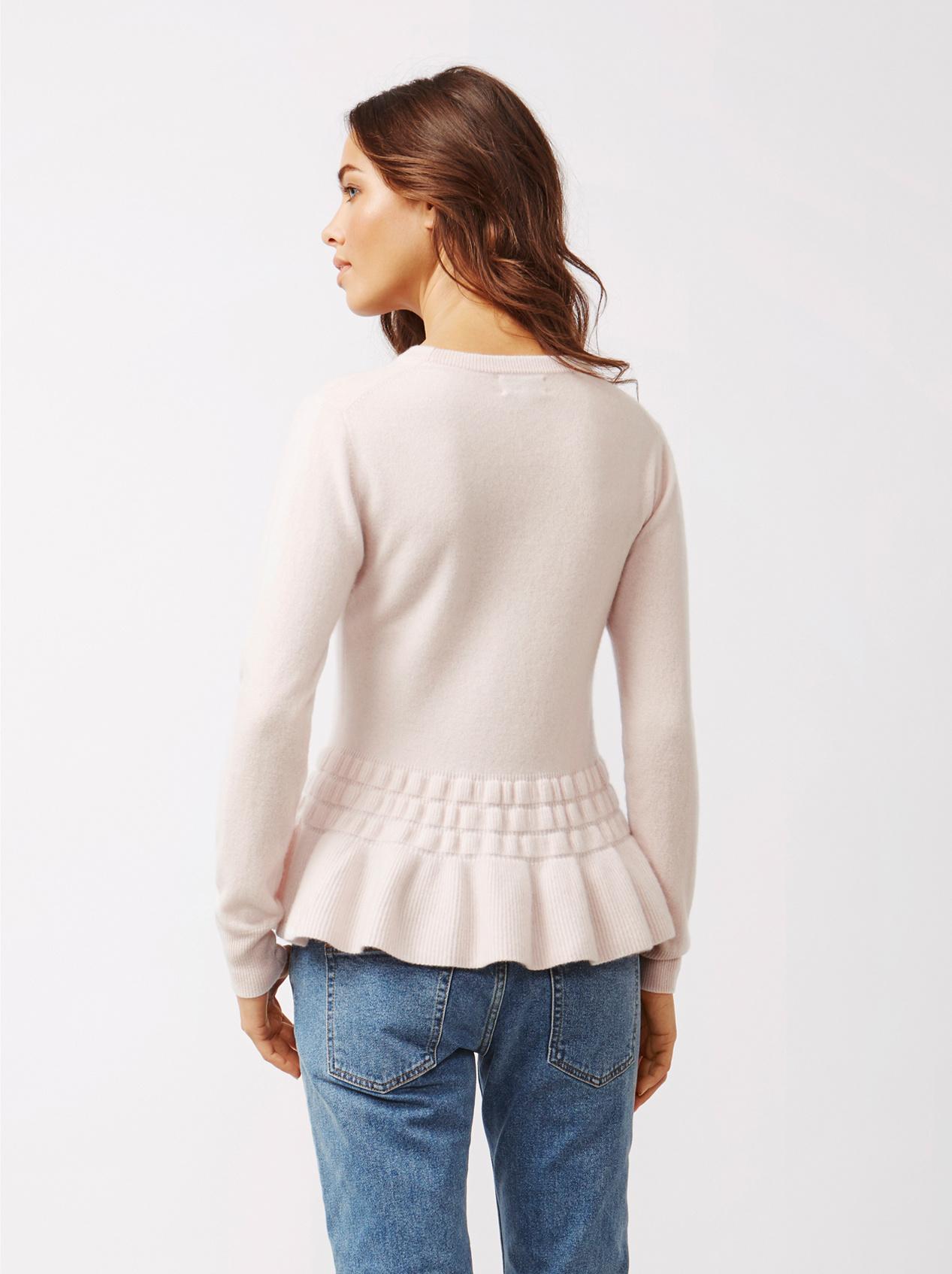 Soft Goat Women's Bottom Ruffle Sweater Marshmallow