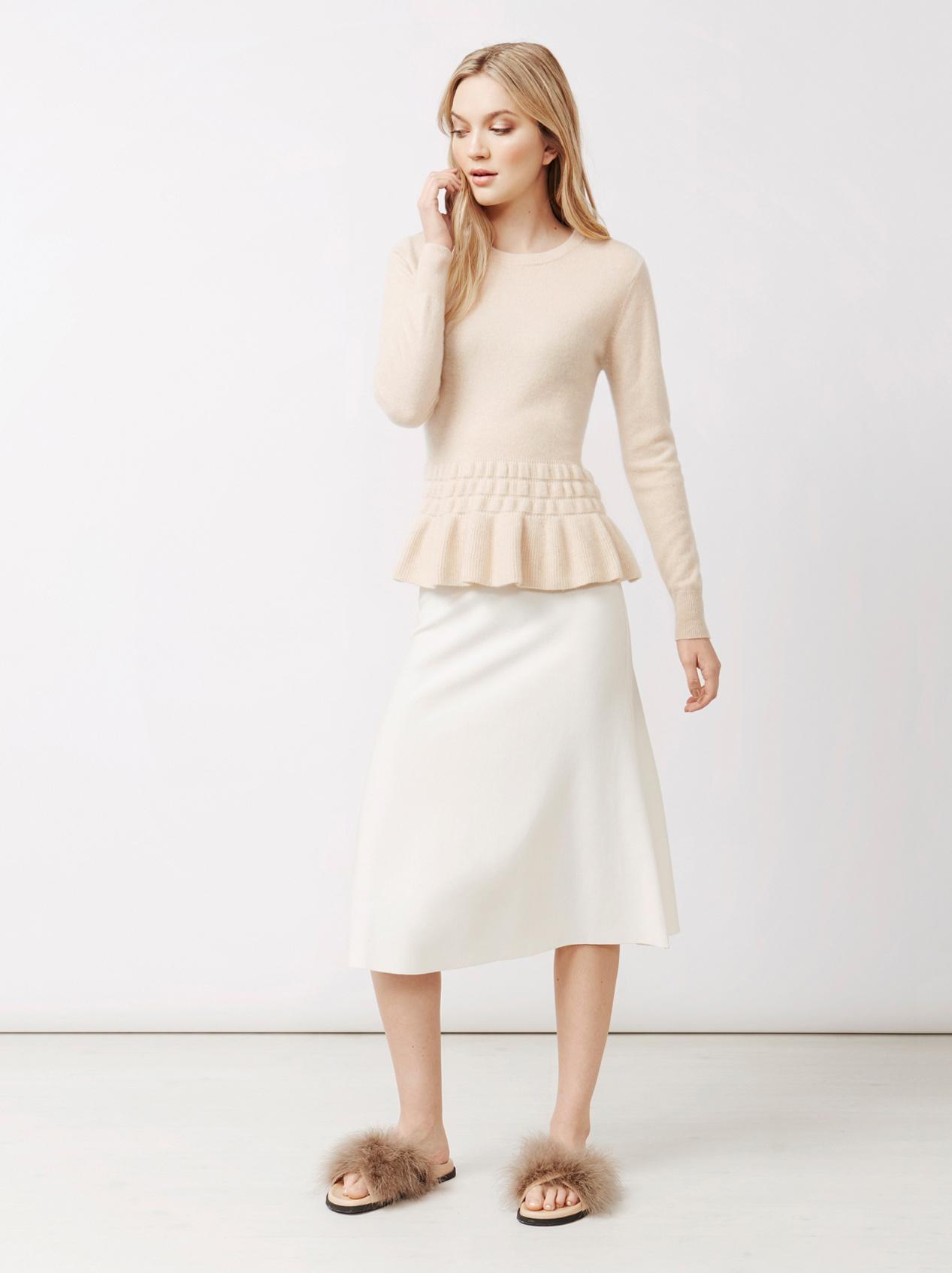 Soft Goat Women's Bottom Ruffle Sweater Beige