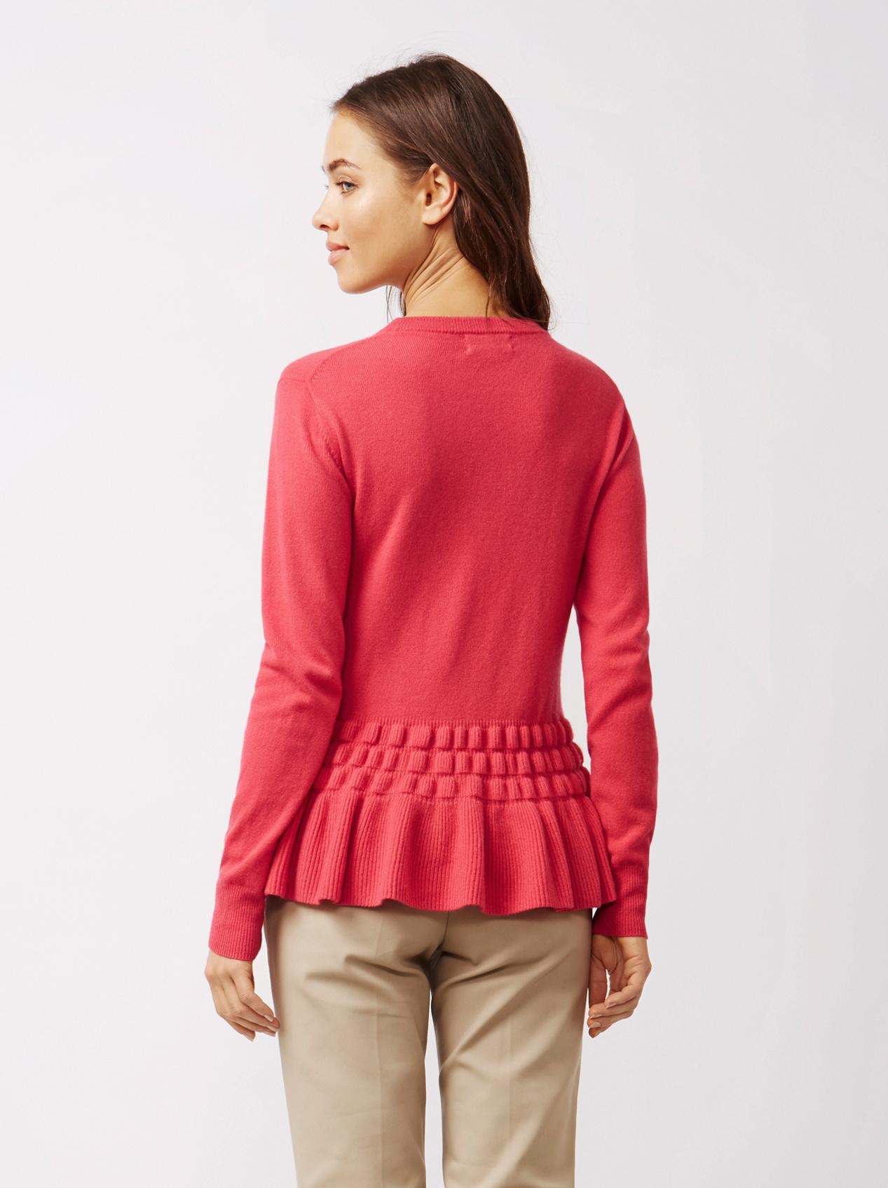 Soft Goat Women's Bottom Ruffle Sweater Very Berry