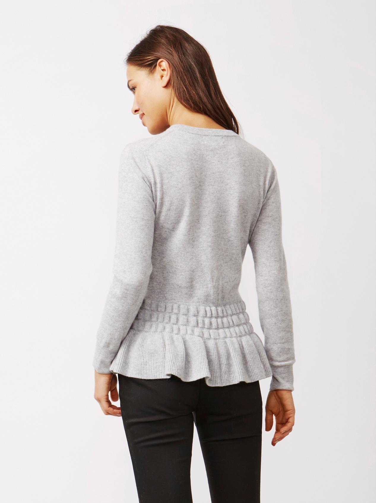 Soft Goat Women's Bottom Ruffle Sweater Light Grey