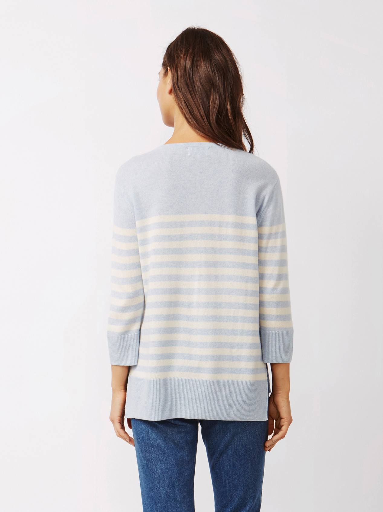 Soft Goat Women's Striped Sweater Light Blue