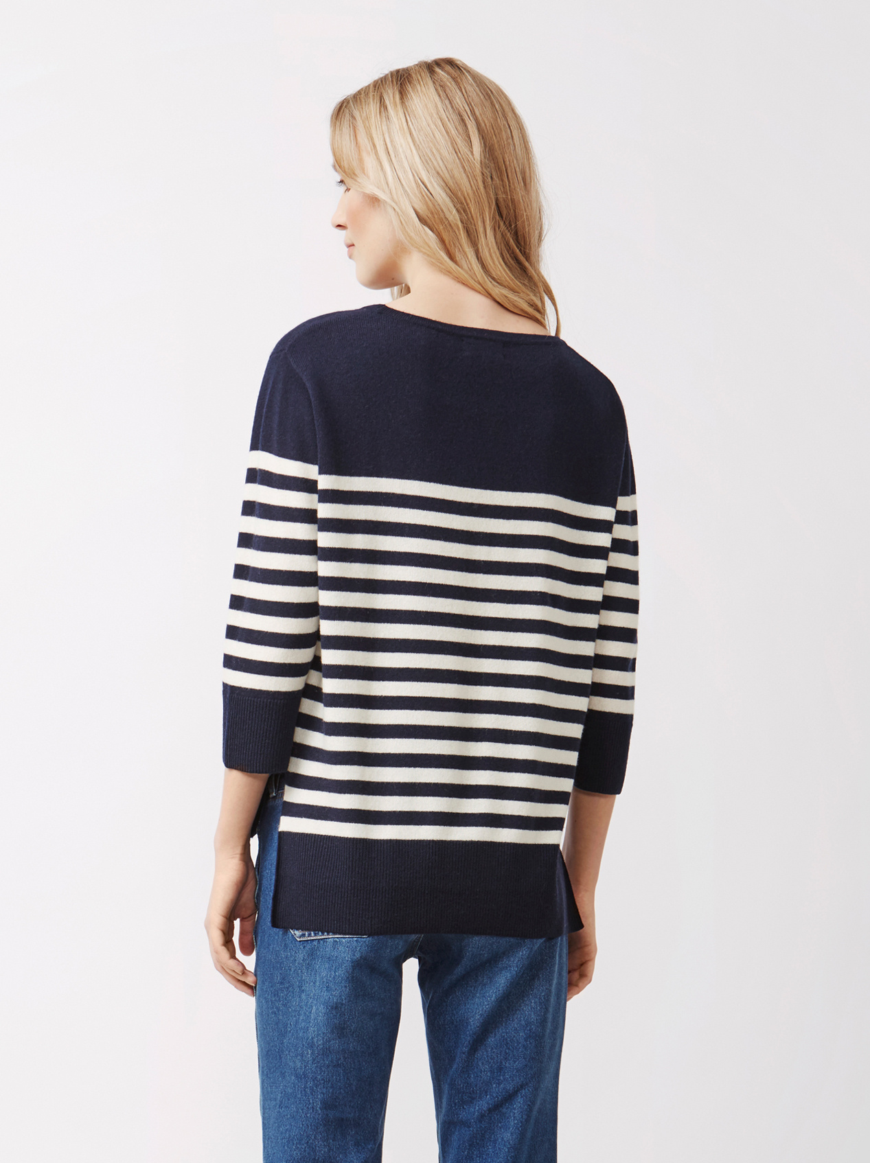 Soft Goat Women's Striped Sweater Navy