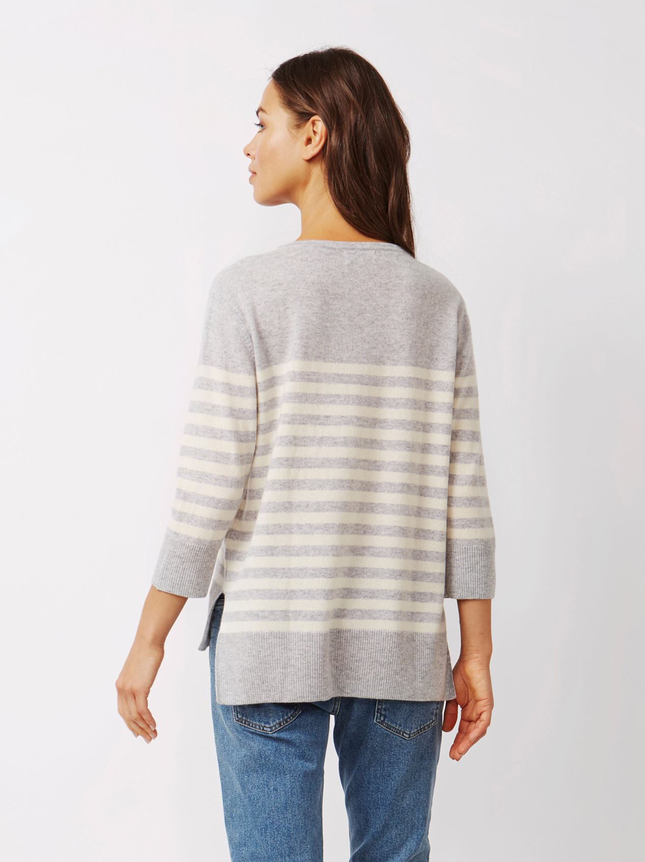 Soft Goat Women's Striped Sweater Light Grey
