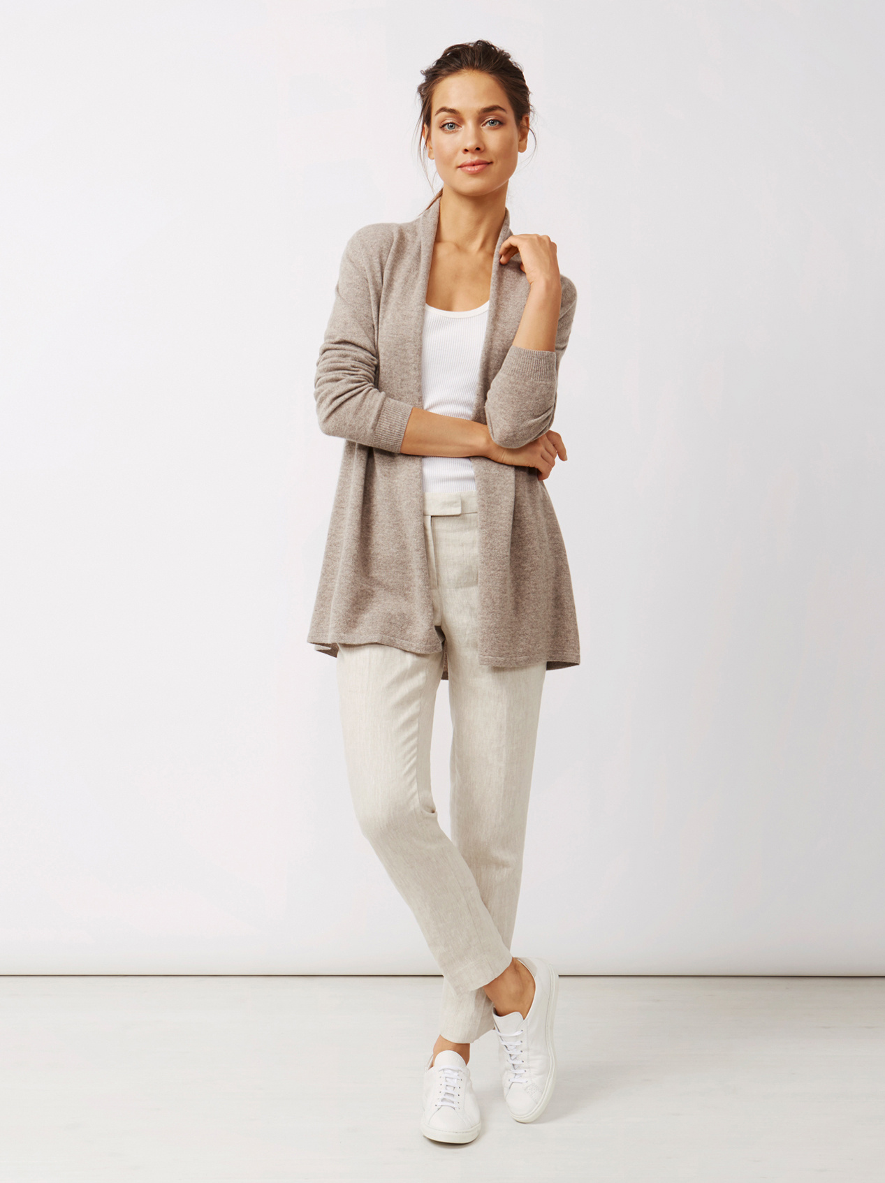 Soft Goat Women's Waterfall Cardigan Taupe