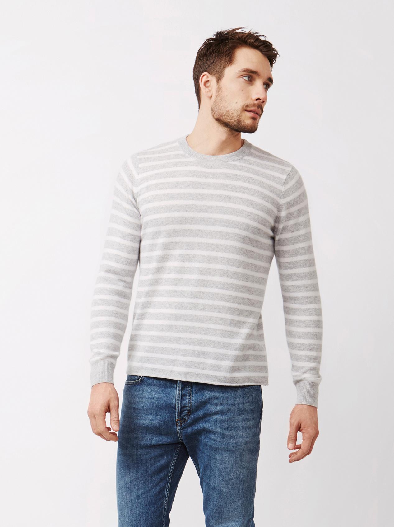 Soft Goat Men's Striped Sweater Light Grey