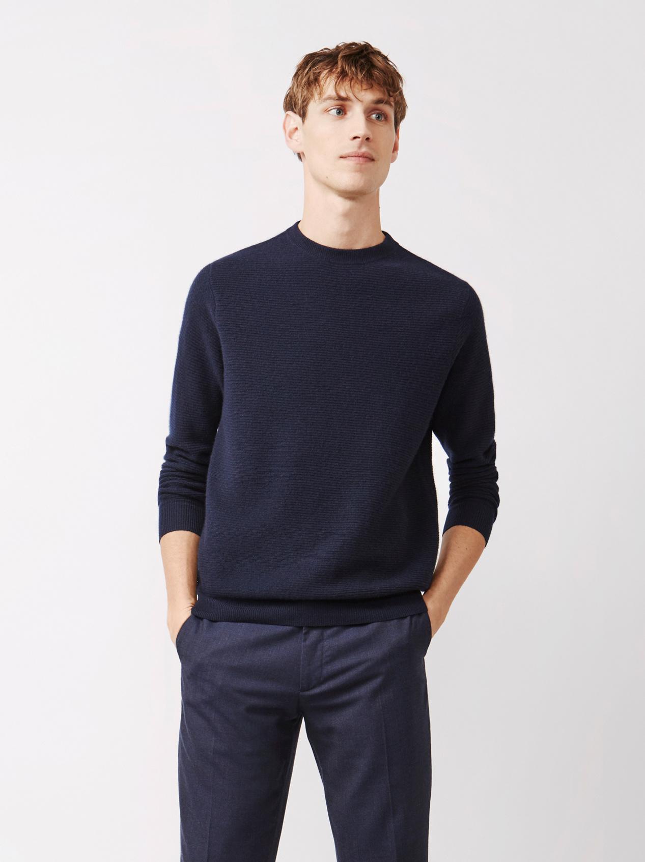 Soft Goat Men's Ribbed Sweater Navy