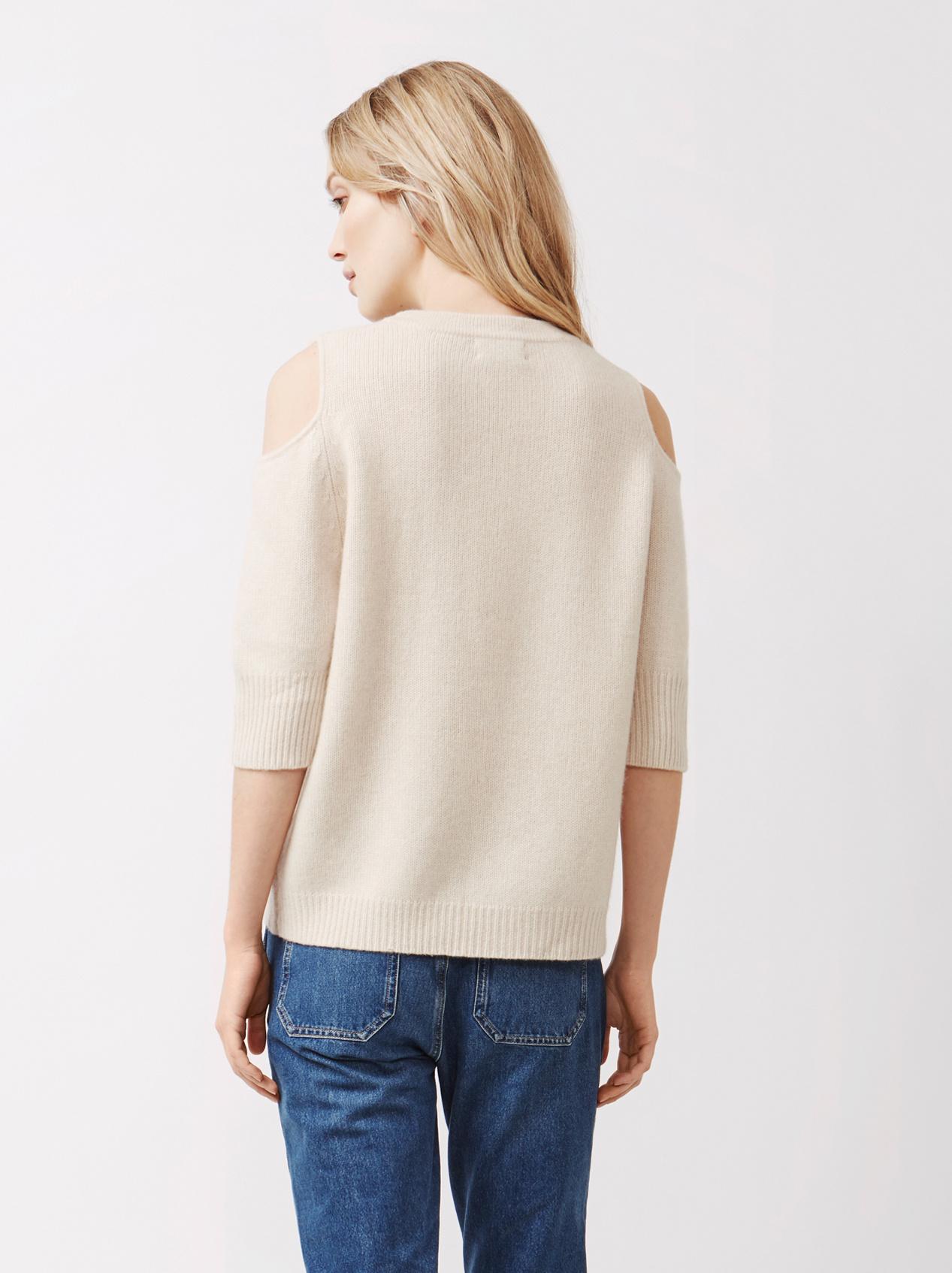 Soft Goat Women's Cold Shoulder Sweater Beige