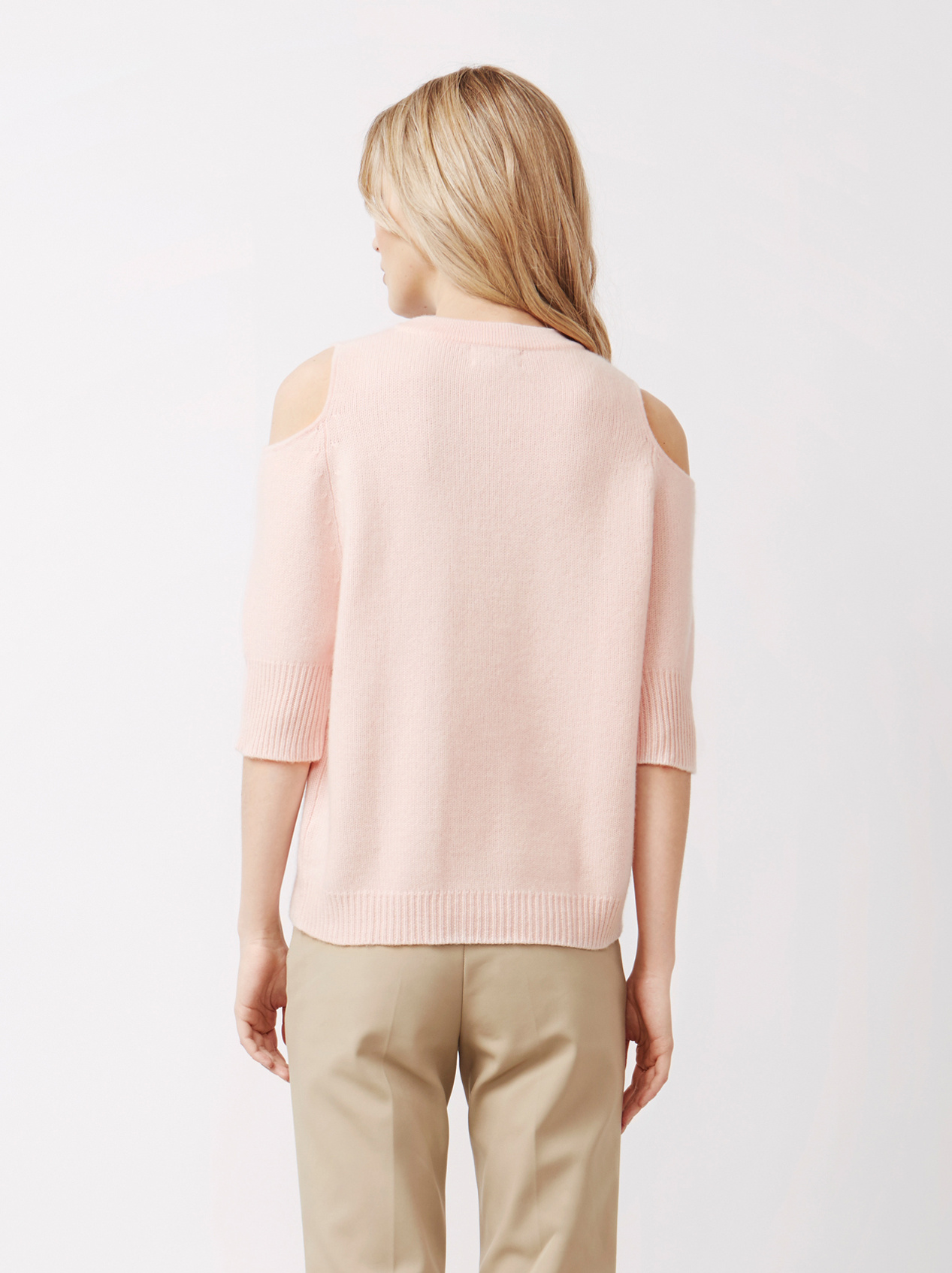 Soft Goat Women's Cold Shoulder Sweater Powder