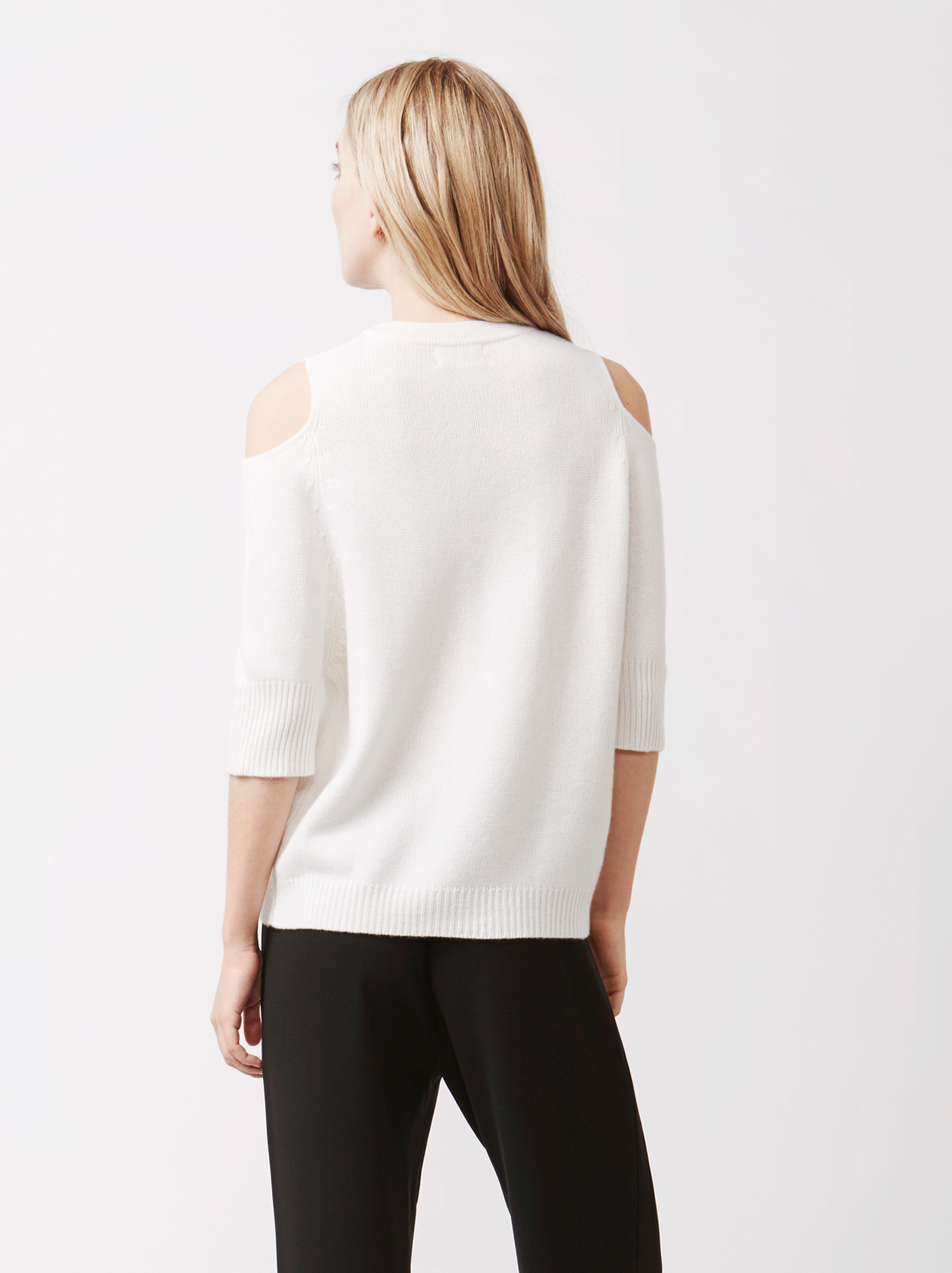 Soft Goat Women's Cold Shoulder Sweater Off White