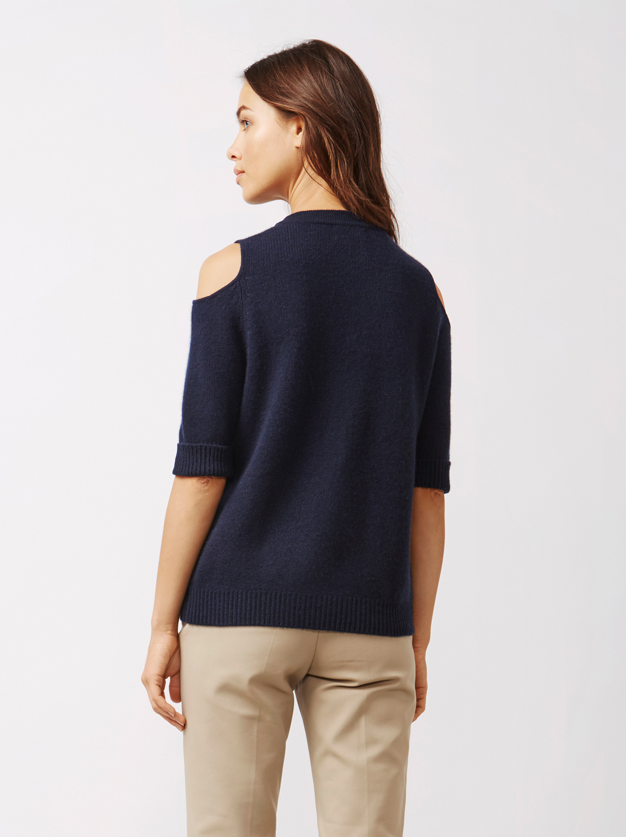 Soft Goat Women's Cold Shoulder Sweater Navy