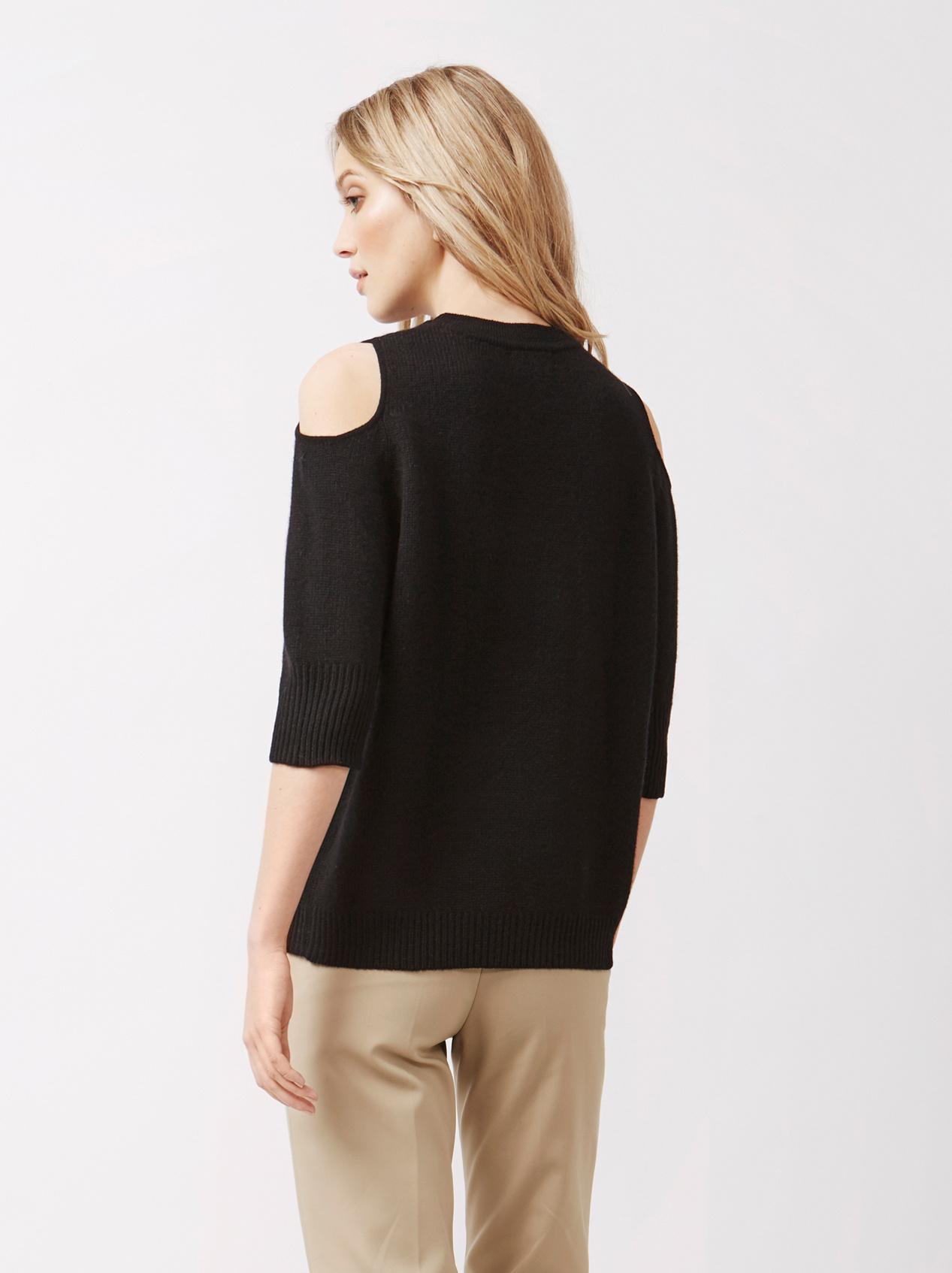 Soft Goat Women's Cold Shoulder Sweater Black