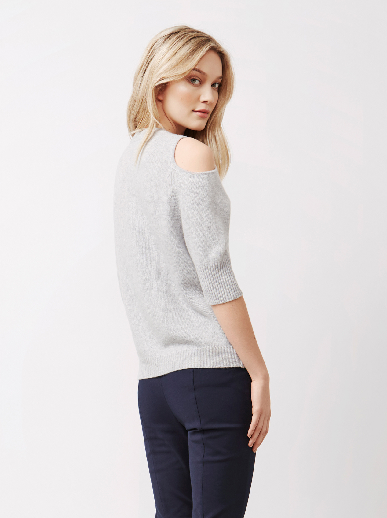 Soft Goat Women's Cold Shoulder Sweater Light Grey