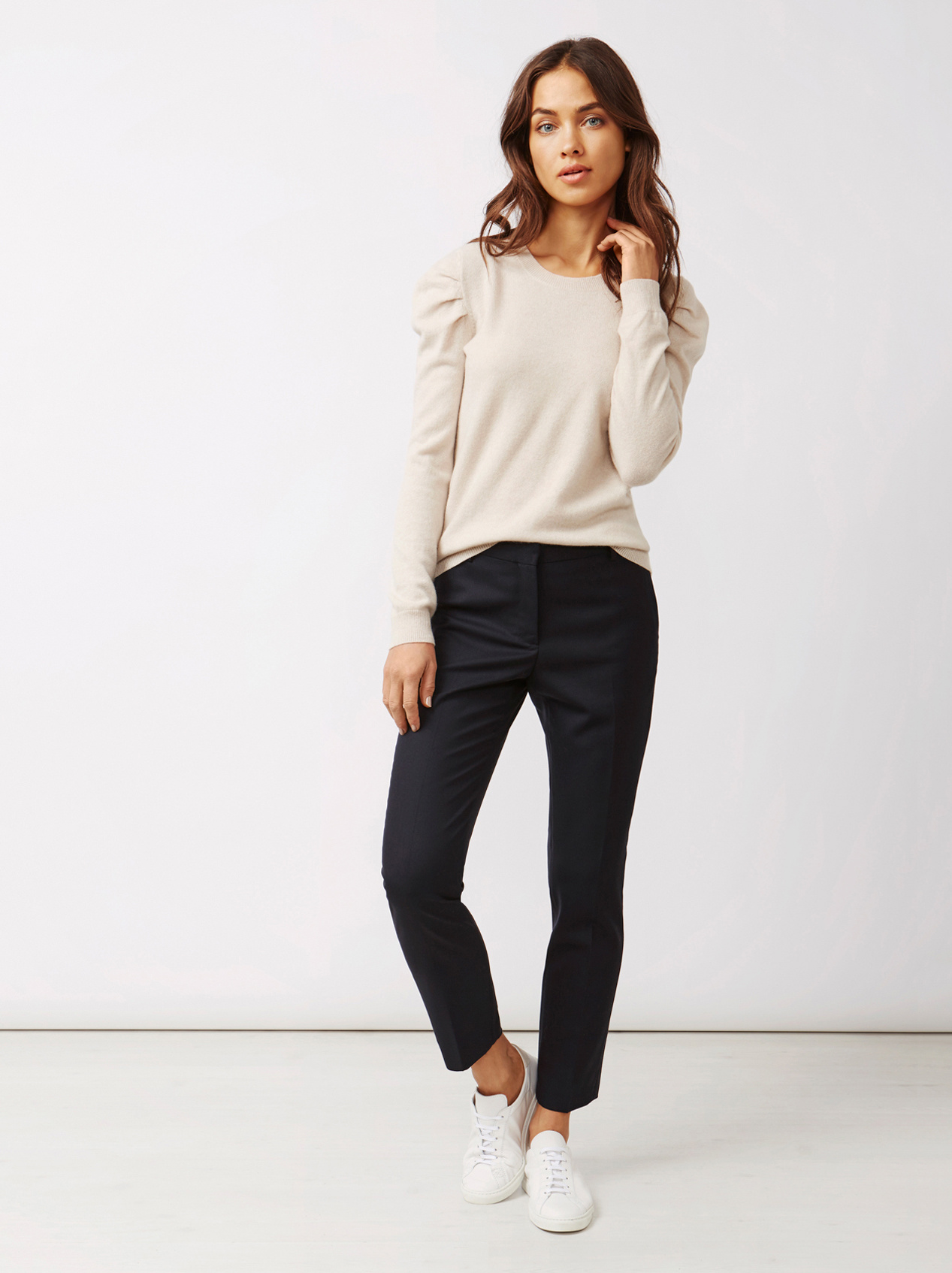 Soft Goat Women's Puff Shoulder Sweater Beige
