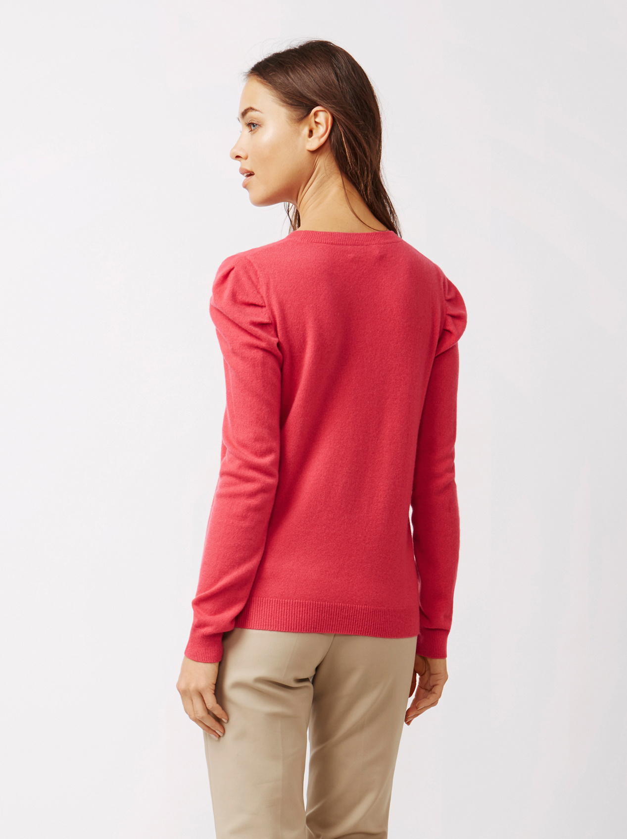 Soft Goat Women's Puff Shoulder Sweater Very Berry