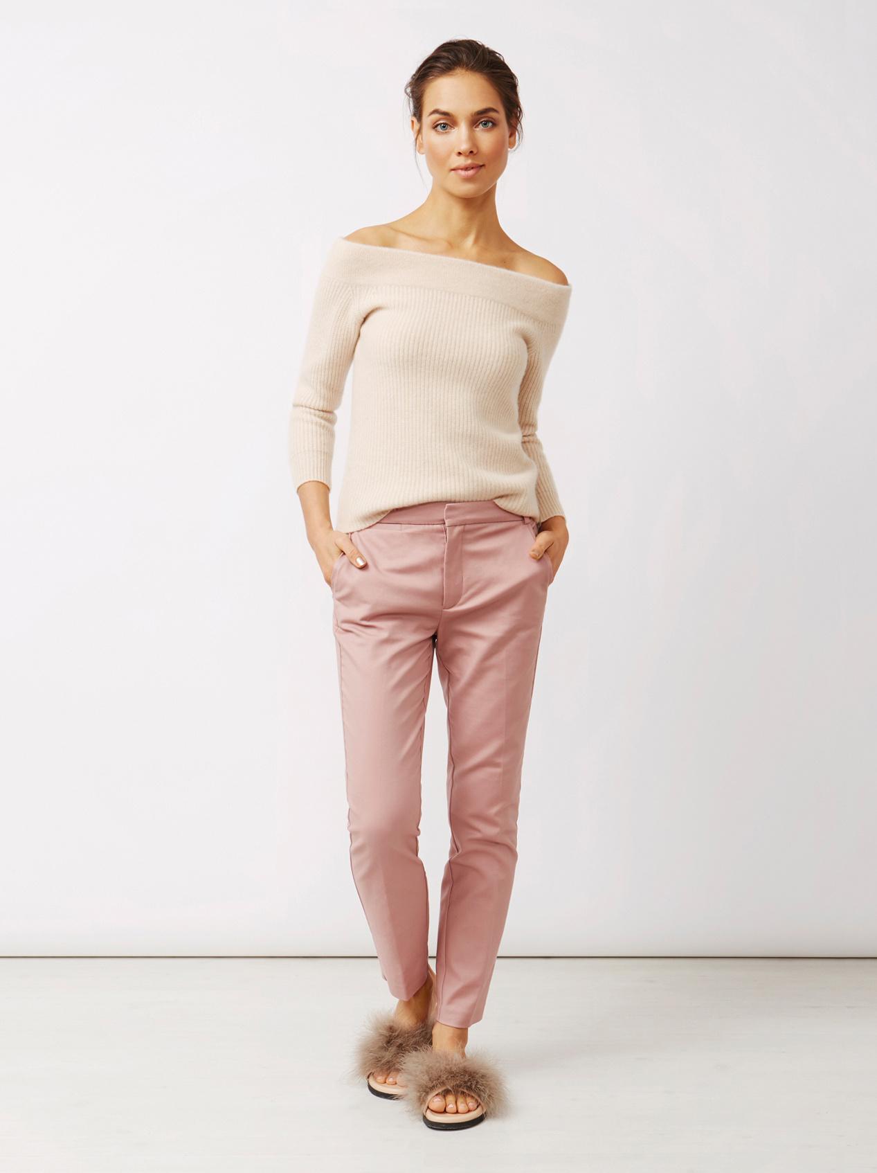 Soft Goat Women's Off Shoulder Sweater Beige