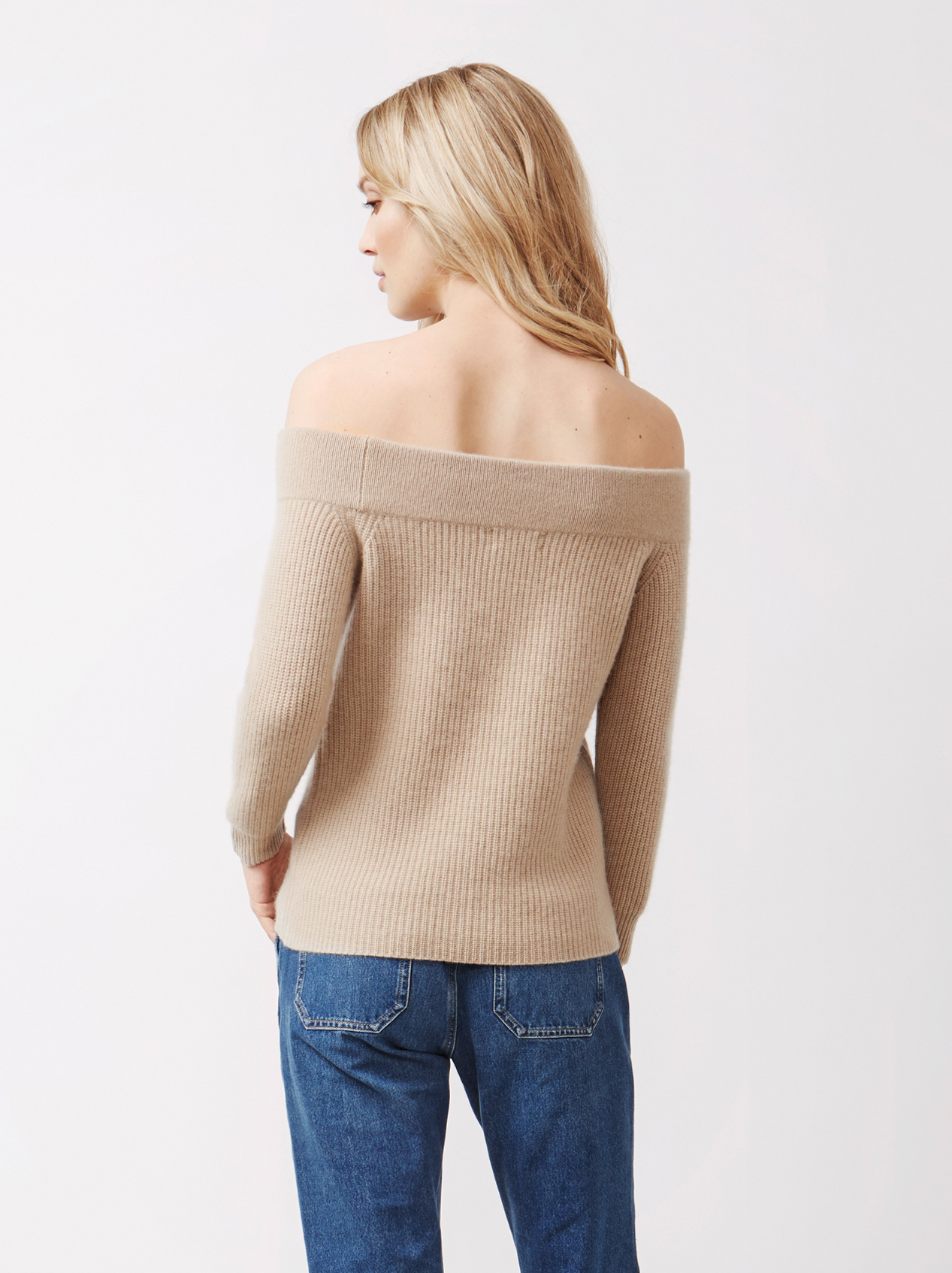 Soft Goat Women's Off Shoulder Sweater Sand