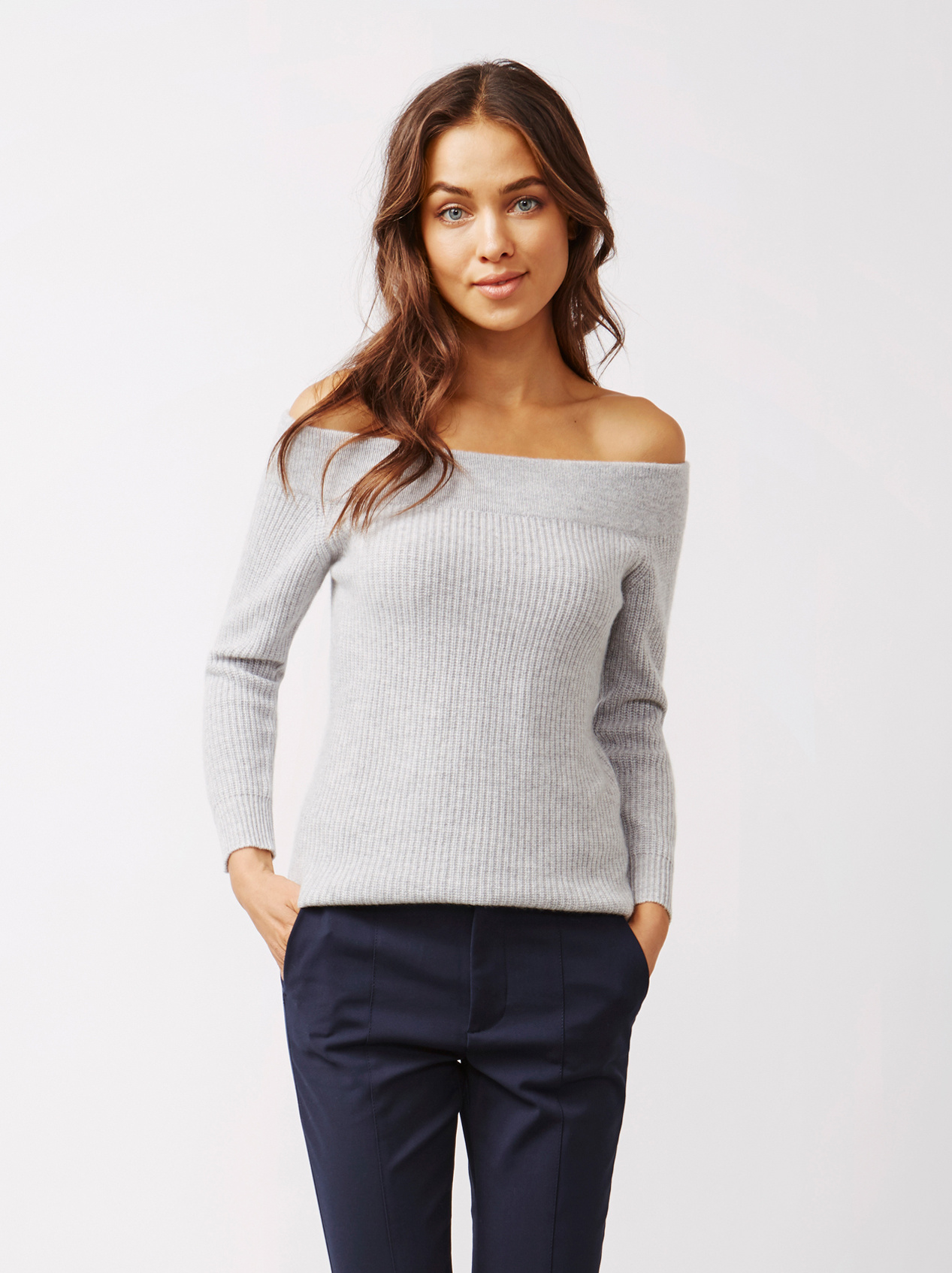 Soft Goat Women's Off Shoulder Sweater Light Grey