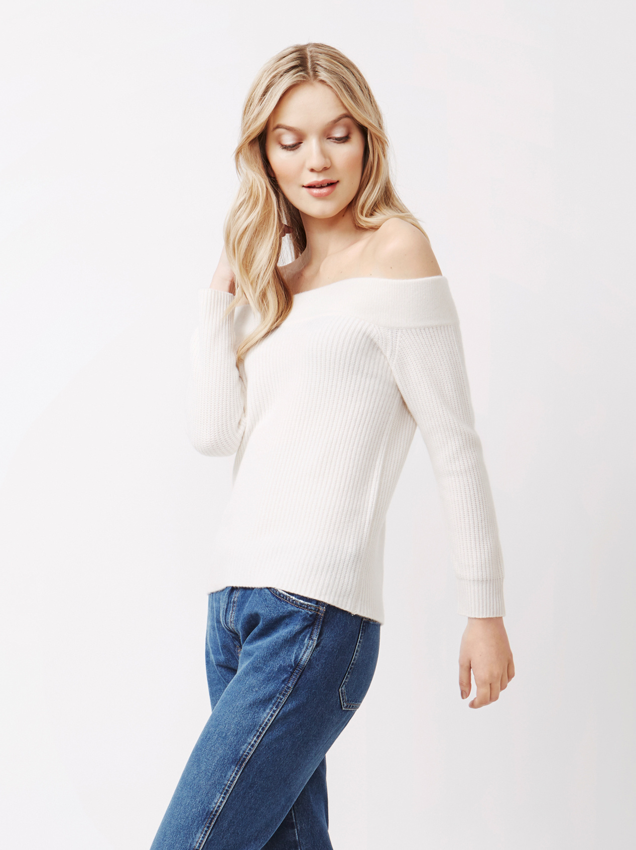 Soft Goat Women's Off Shoulder Sweater Off White