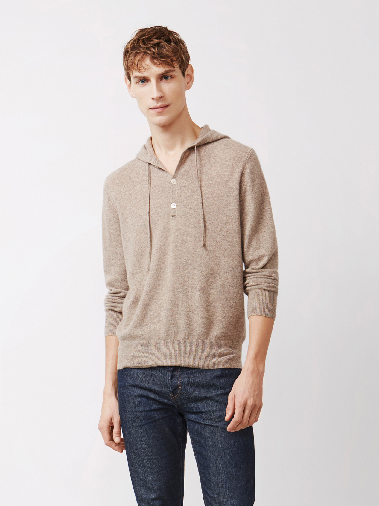 Soft Goat Men's Hoodie With Buttons Taupe