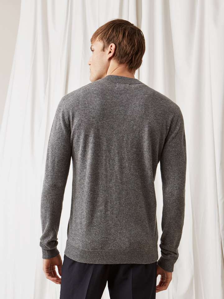 Soft Goat Men's Bomber Sweater Dark Grey