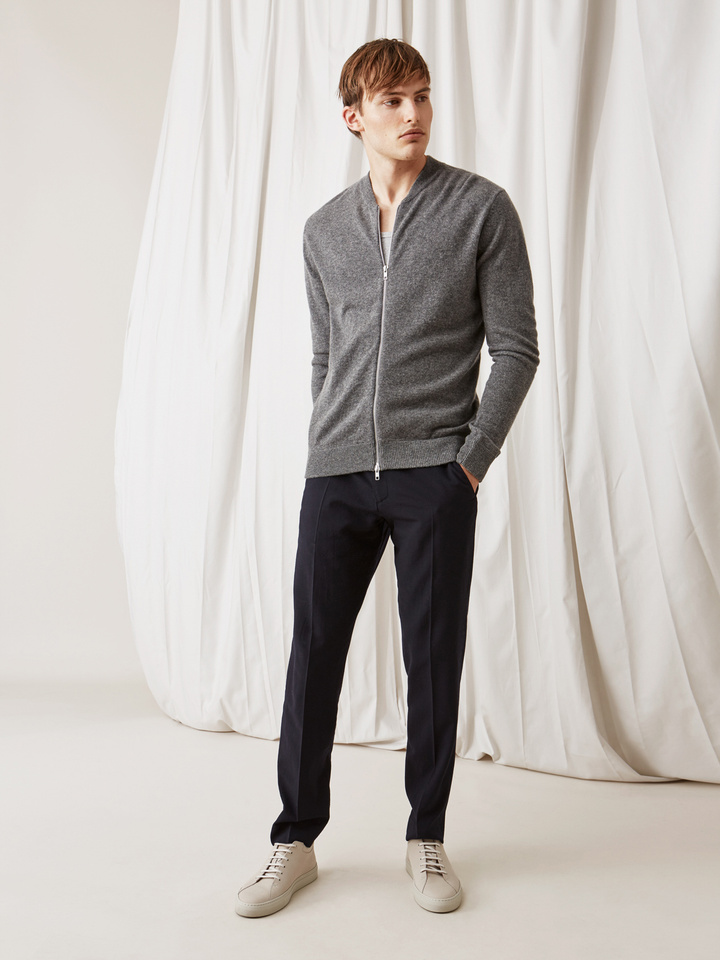 Soft Goat Men's Bomber Sweater Dark Grey